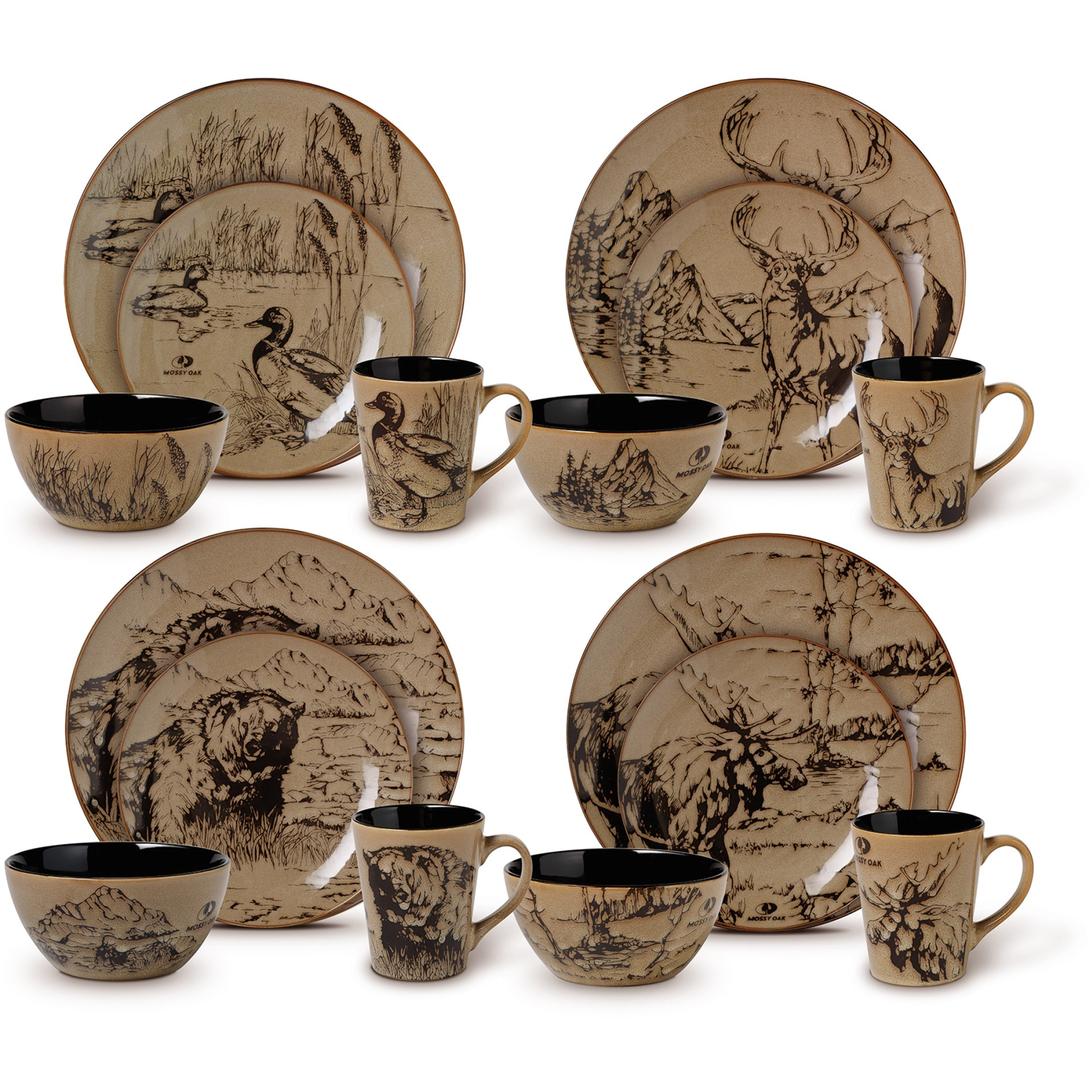 Shop Mossy Oak 16-piece Assorted Dinnerware Set - On Sale - Free ...