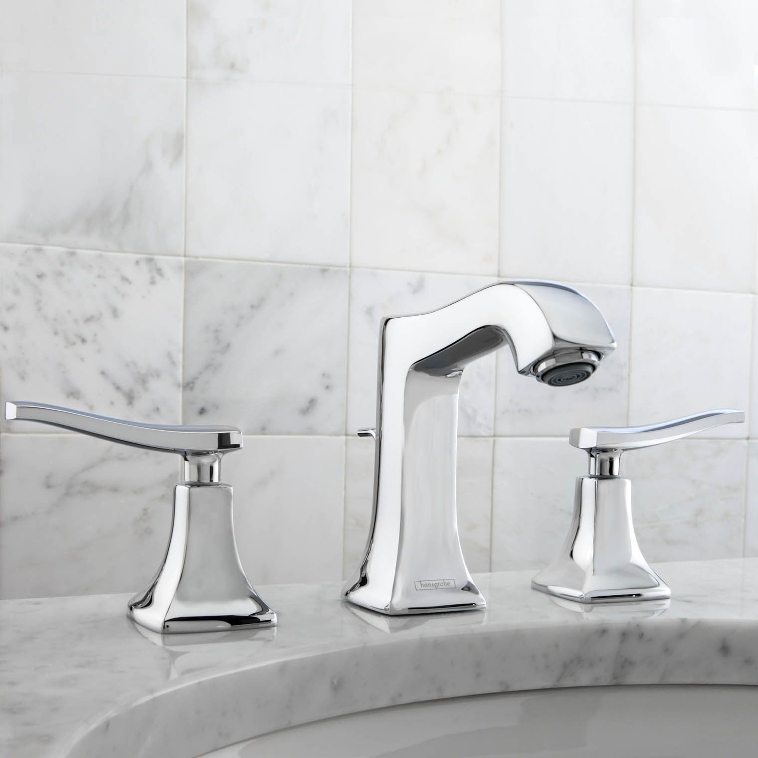 Shop Hansgrohe Metris C Widespread Lever Handle Chrome Faucet - Free ...