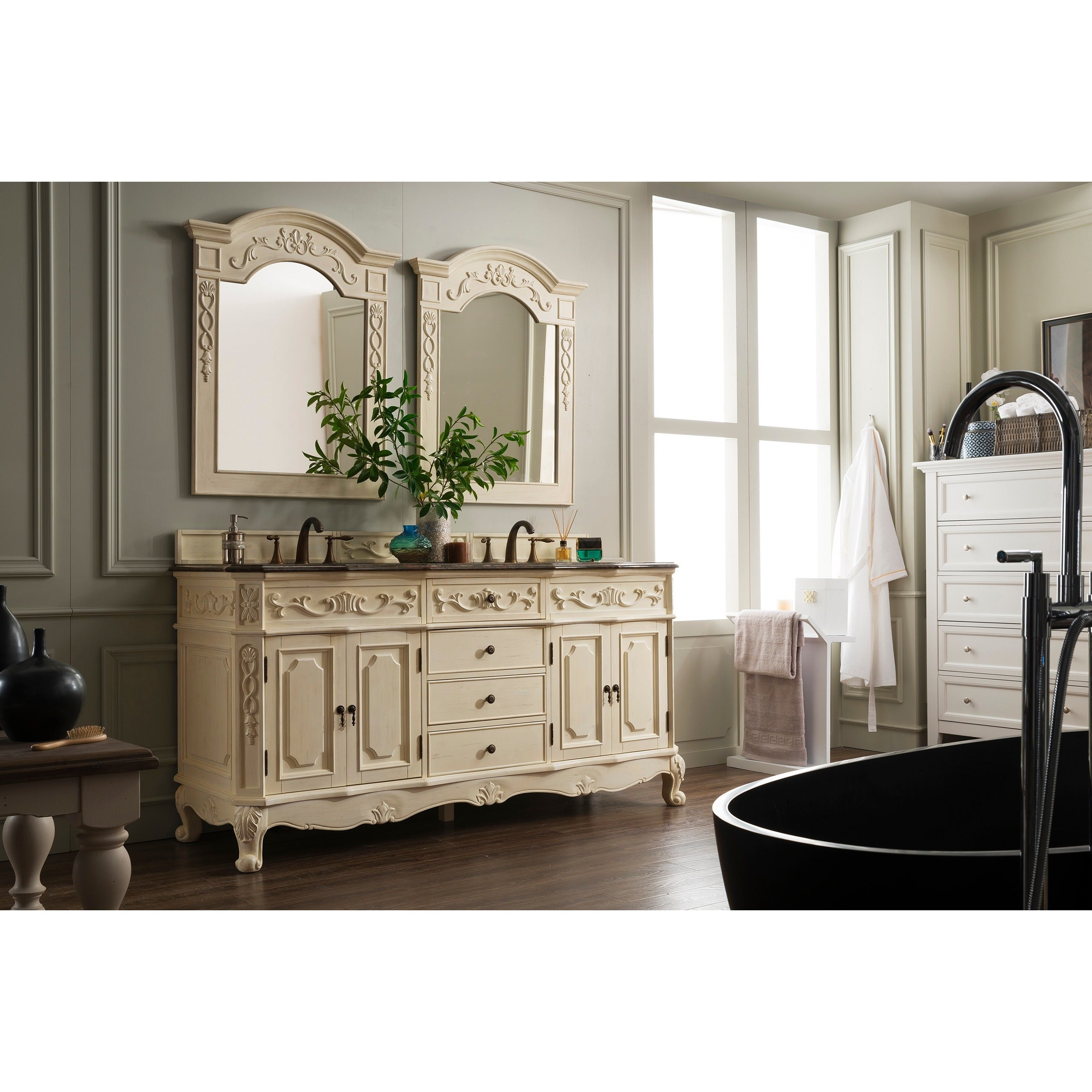 Shop James Martin Furniture Classico Antique White 72-inch Double Granite  Vanity Set - Free Shipping Today - Overstock.com - 9359190