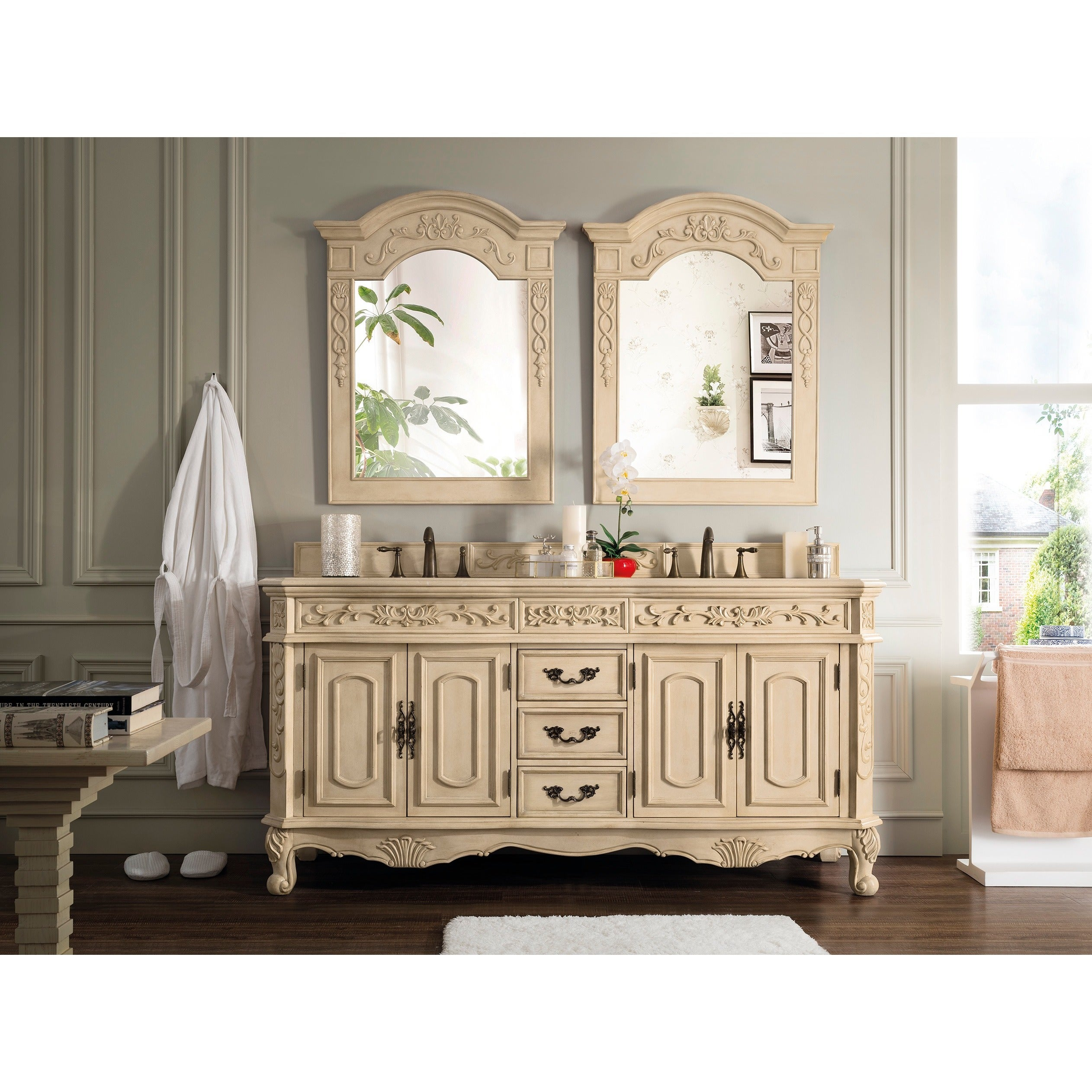 James Martin Furniture Riviera Antique White 72 Inch Double Marble Vanity With Top Free Shipping Today 16551584