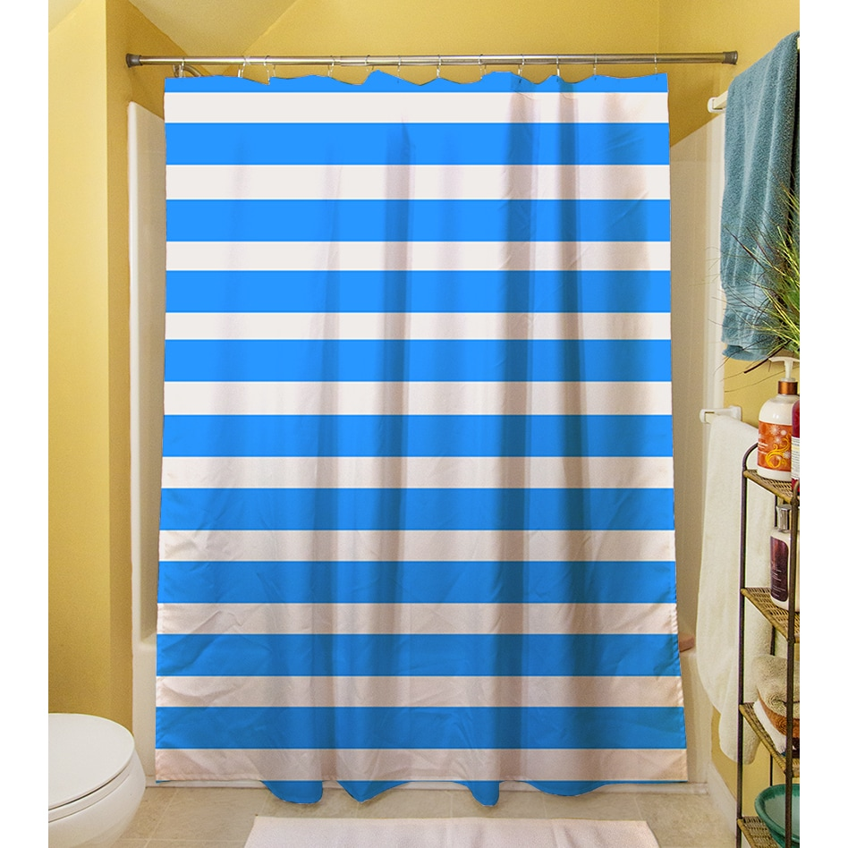 Shop Bright Stripes Robin Egg Shower Curtain