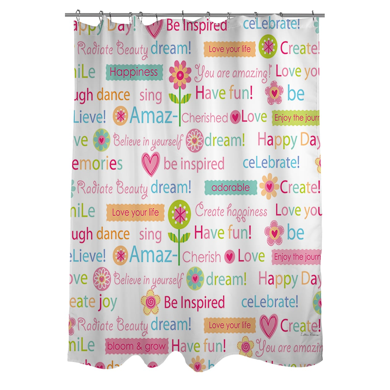 Shop Happy Day Words Shower Curtain   On Sale   Free Shipping Today    Overstock.com   9361508