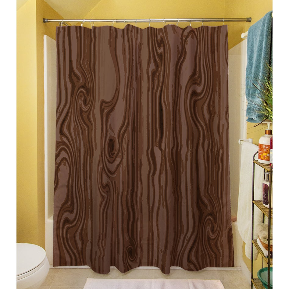 Shop Wood Grain Large Scale Brown Shower Curtain