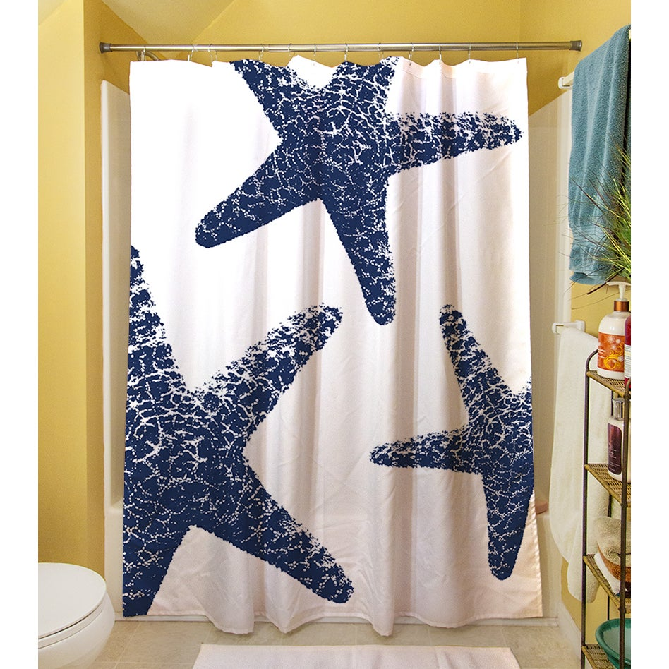 Nautical Nonsense Blue/ White Starfish Shower Curtain   Free Shipping Today    Overstock.com   16553732