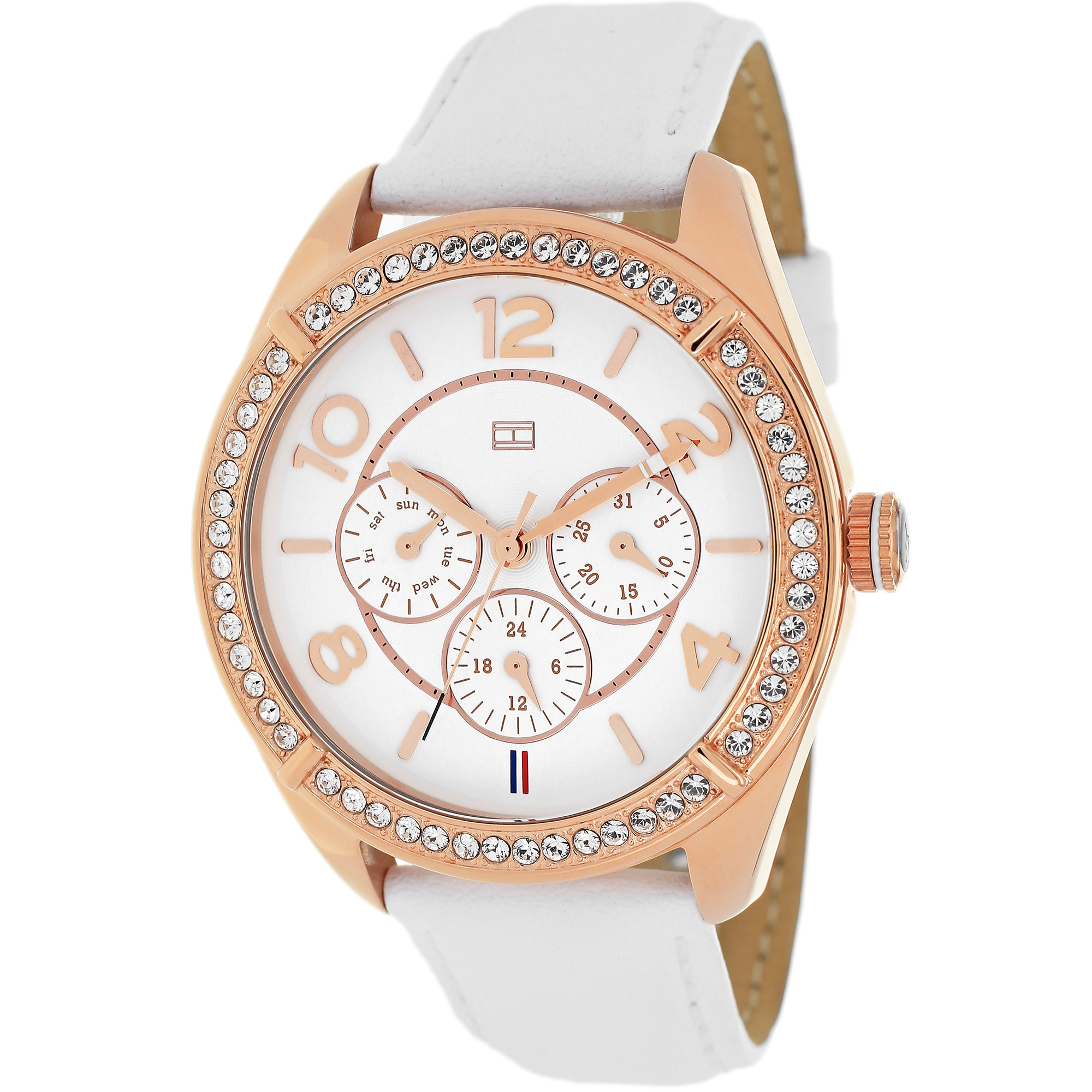 705e6e6ea Shop Tommy Hilfiger Women's 1781251 Sport Chronograph White Leather Watch -  Free Shipping Today - Overstock - 9361984