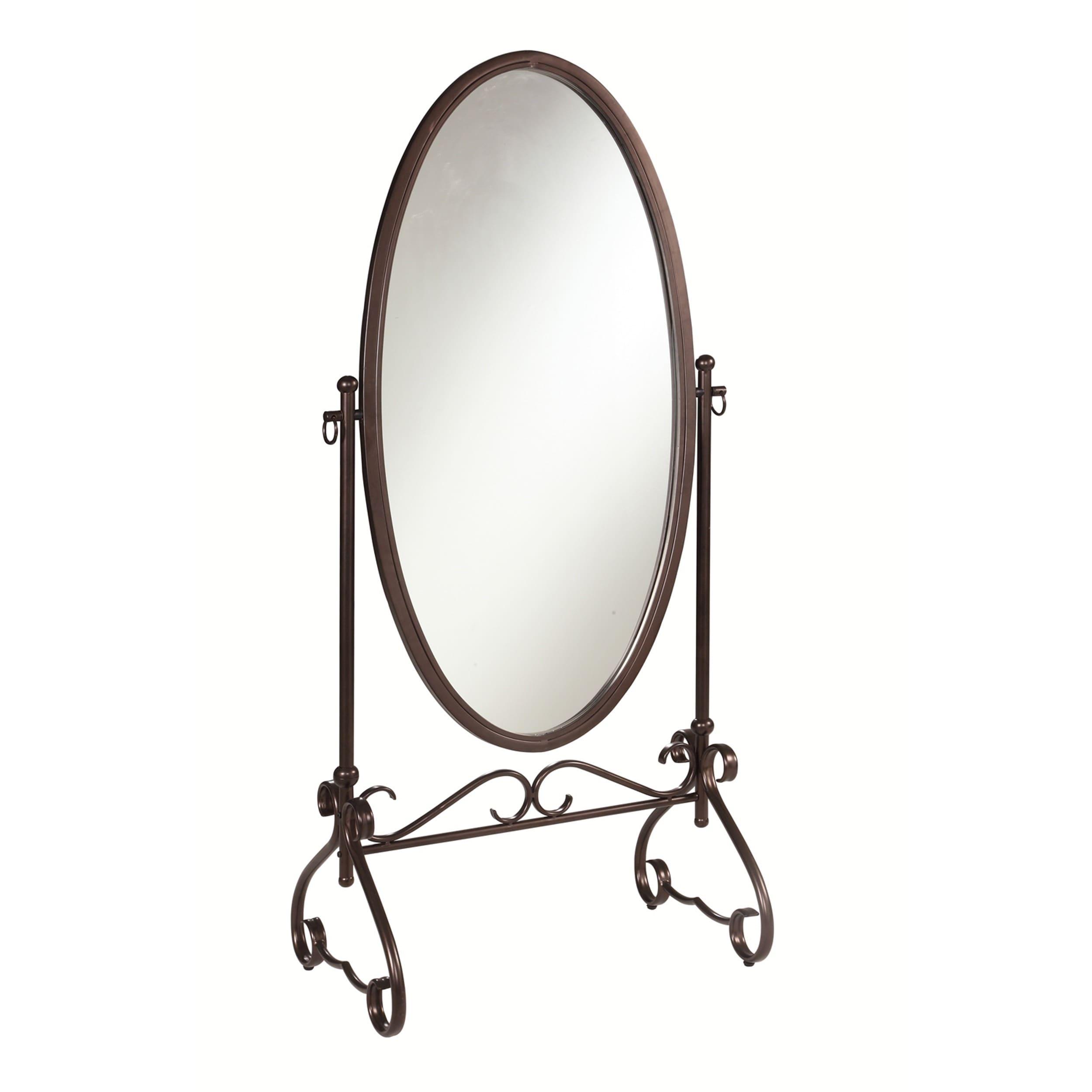 Super Linon Angelica 26 x 63-inch Metal Oval Cheval Mirror - Antique  VL04