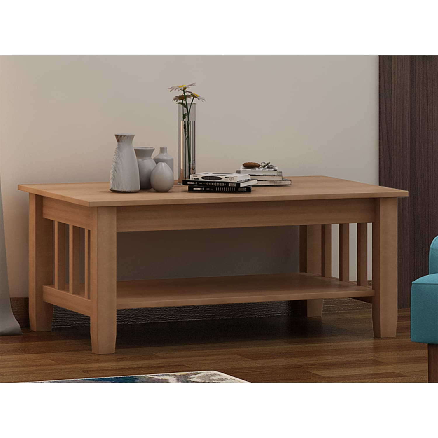 Unfinished Solid Parawood Mission Tall Lift top Coffee Table