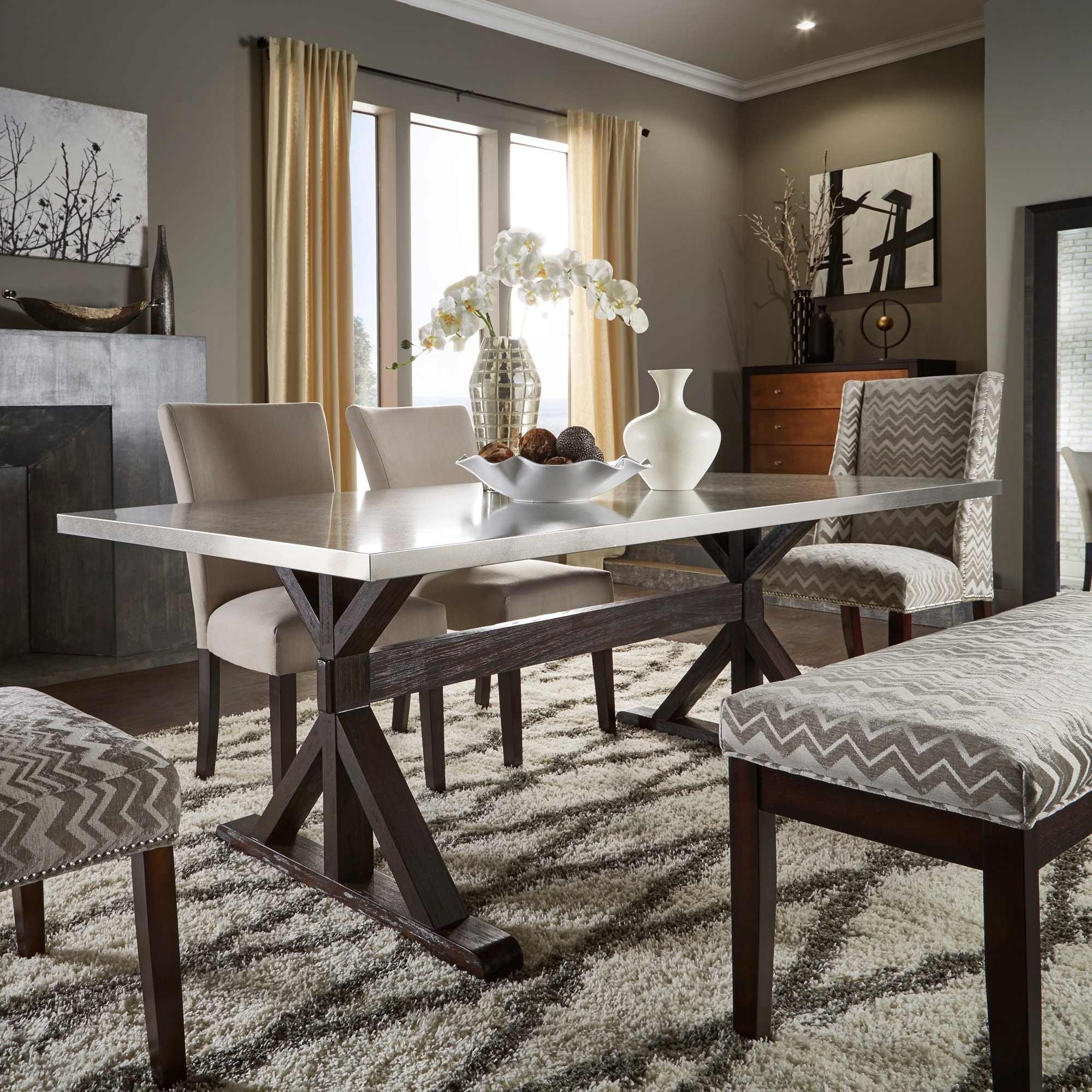 Trumbull Stainless Steel and Grey 6 piece Dining