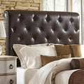 Tufted Dark Brown Faux Leather Queen Size Upholstered Sleigh Headboard