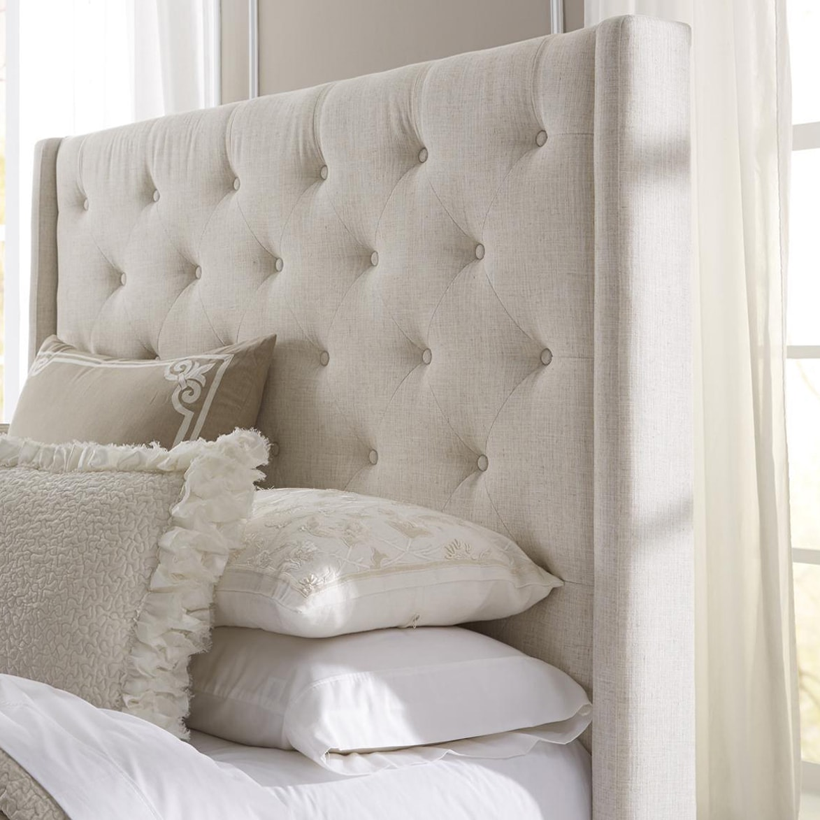 furniture bed grey size nailhead king upholstered itm linen button tufted headboard