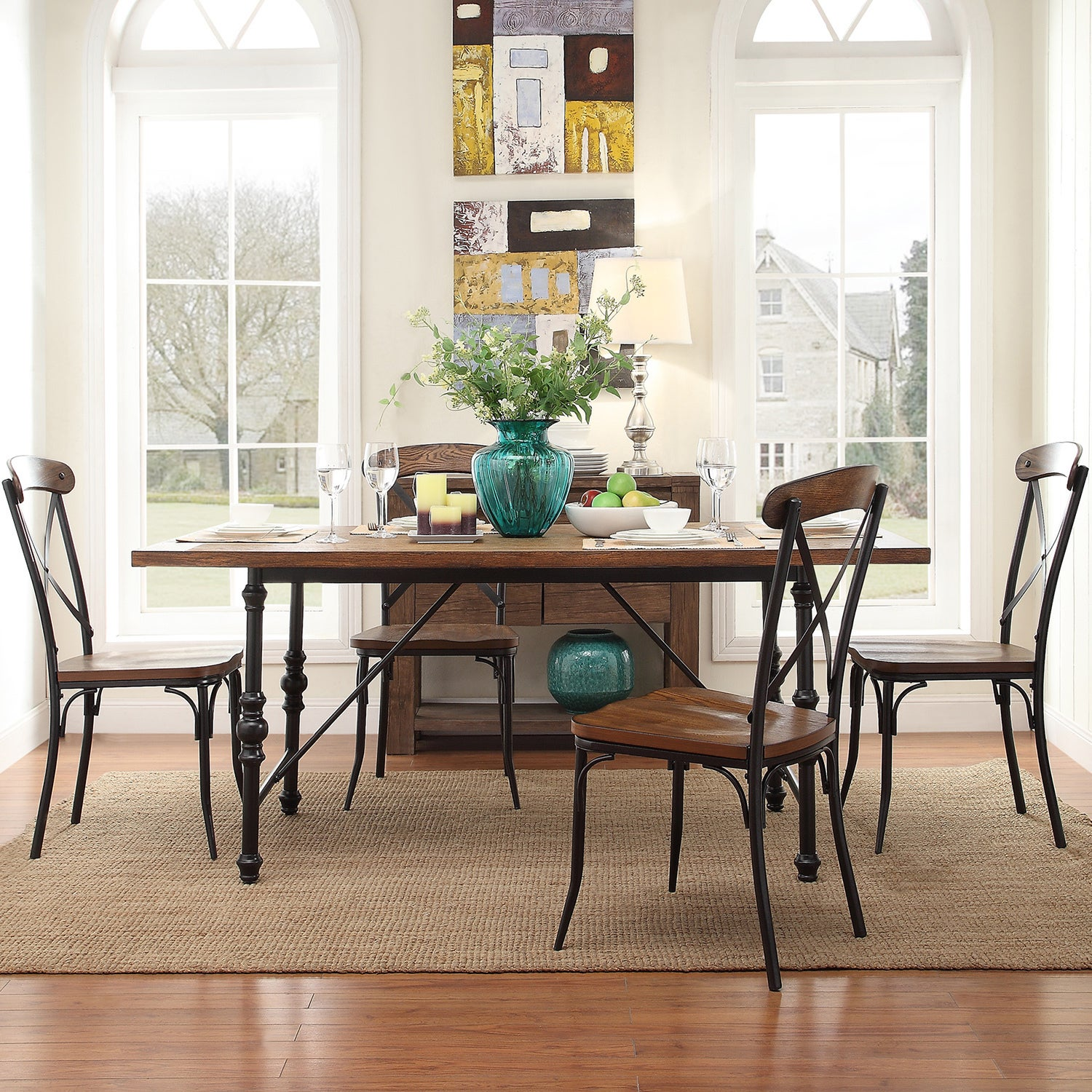Nelson Industrial Modern Metal Dining Table By INSPIRE Q Classic   Free  Shipping Today   Overstock.com   16558379