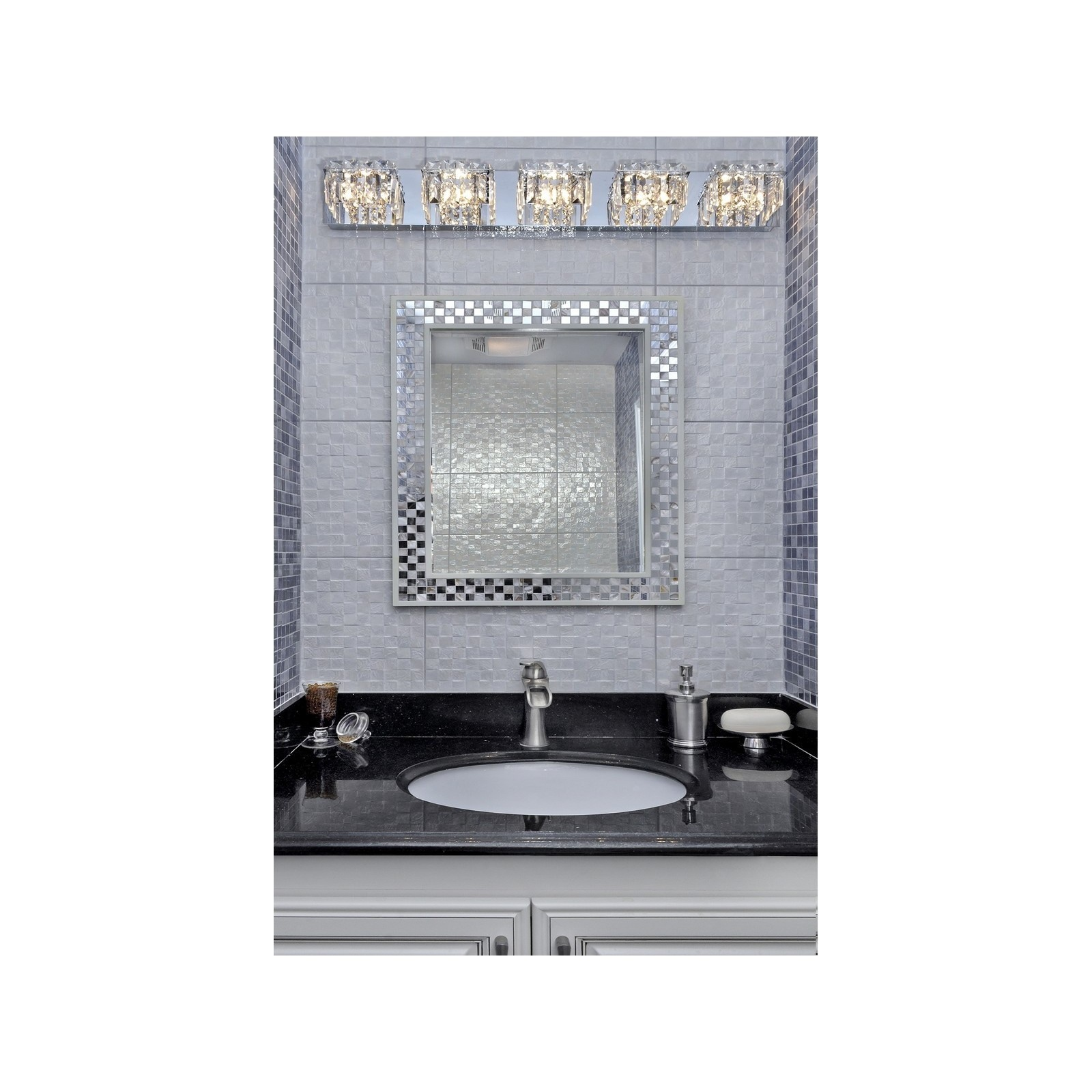 Shop Bangle Crystal Cube And Polished Chrome Light Bath Vanity - Chrome 5 light bathroom fixture