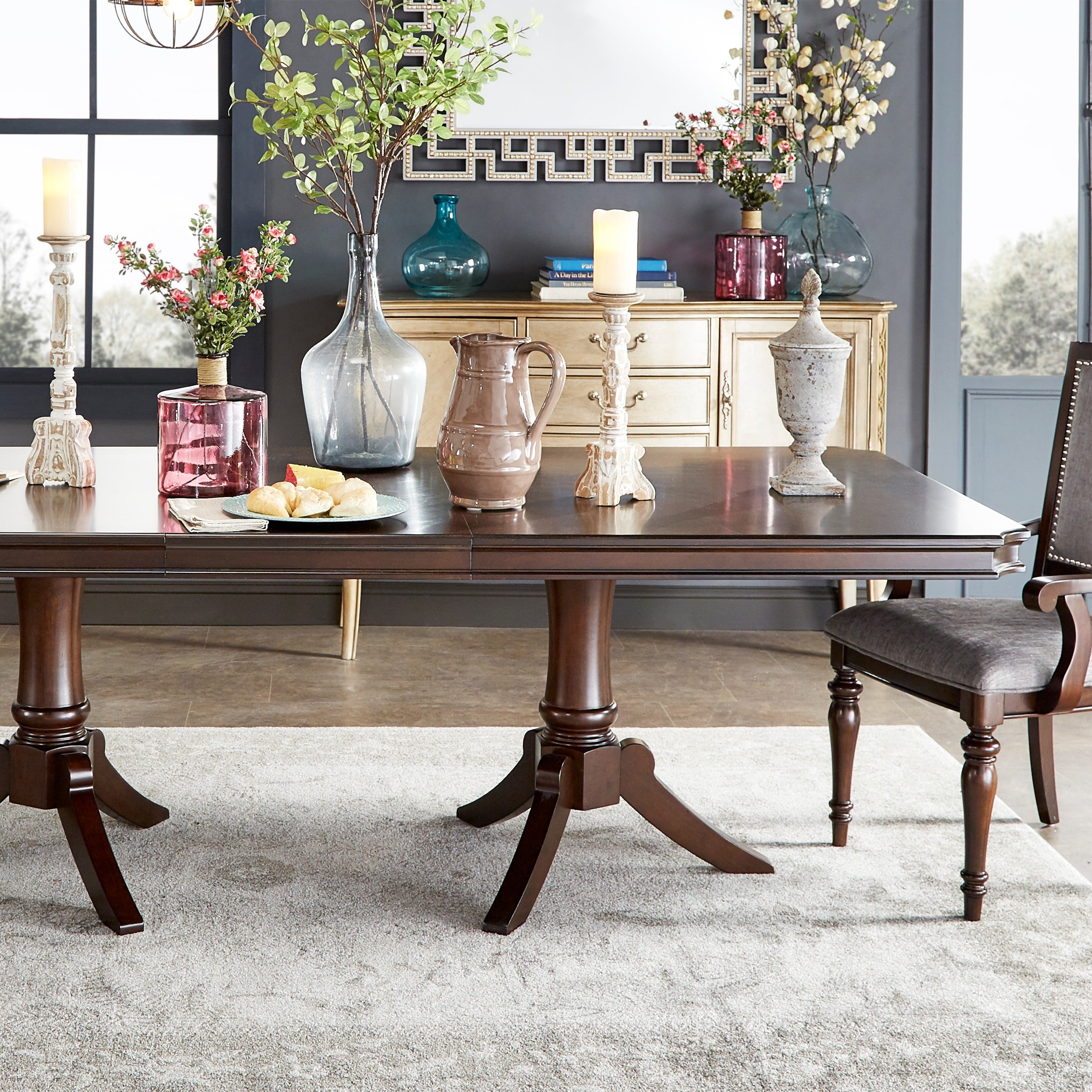 Lasalle Espresso Pedestal Extending Dining Table By Inspire Q Clic
