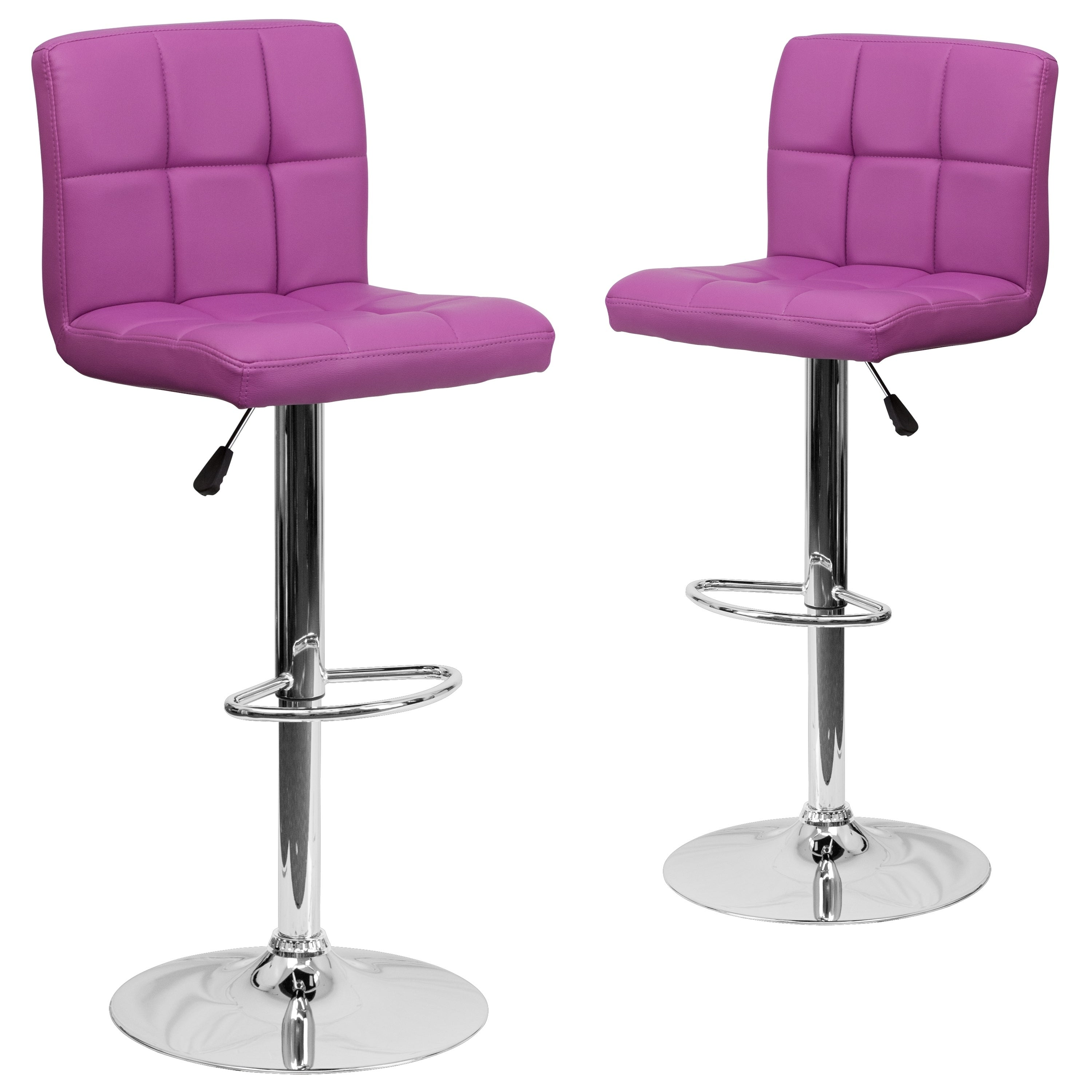 Shop 2 pk contemporary quilted vinyl adjustable height barstool with chrome base free shipping today overstock com 9375169