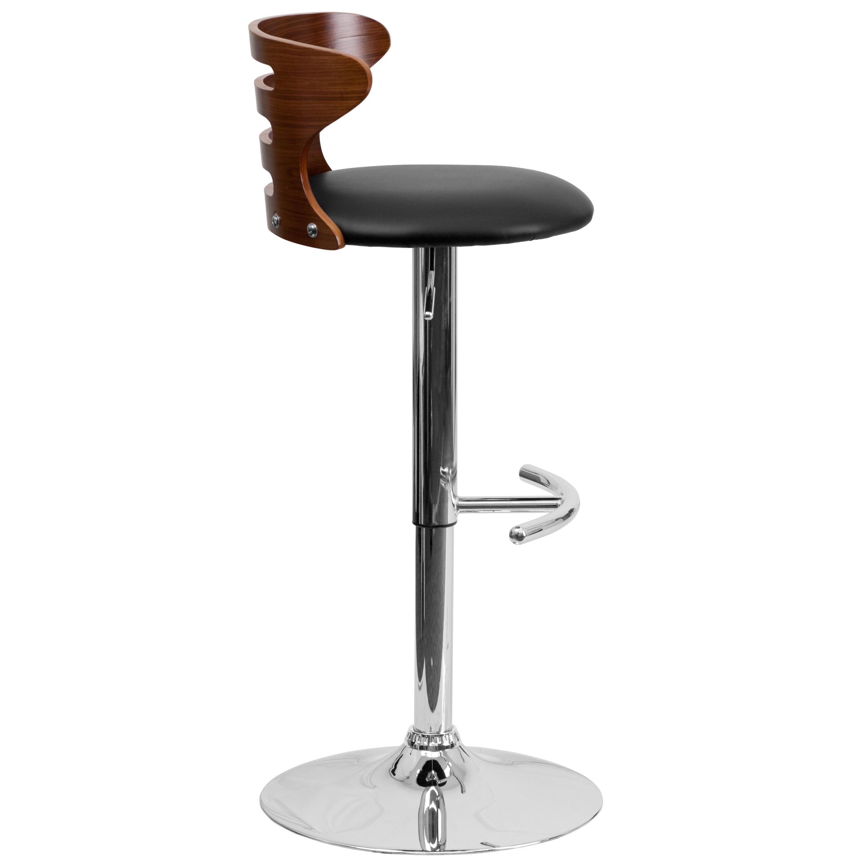 Shop Bentwood Adjustable Bar Stool With Black Vinyl Seat And Cutout