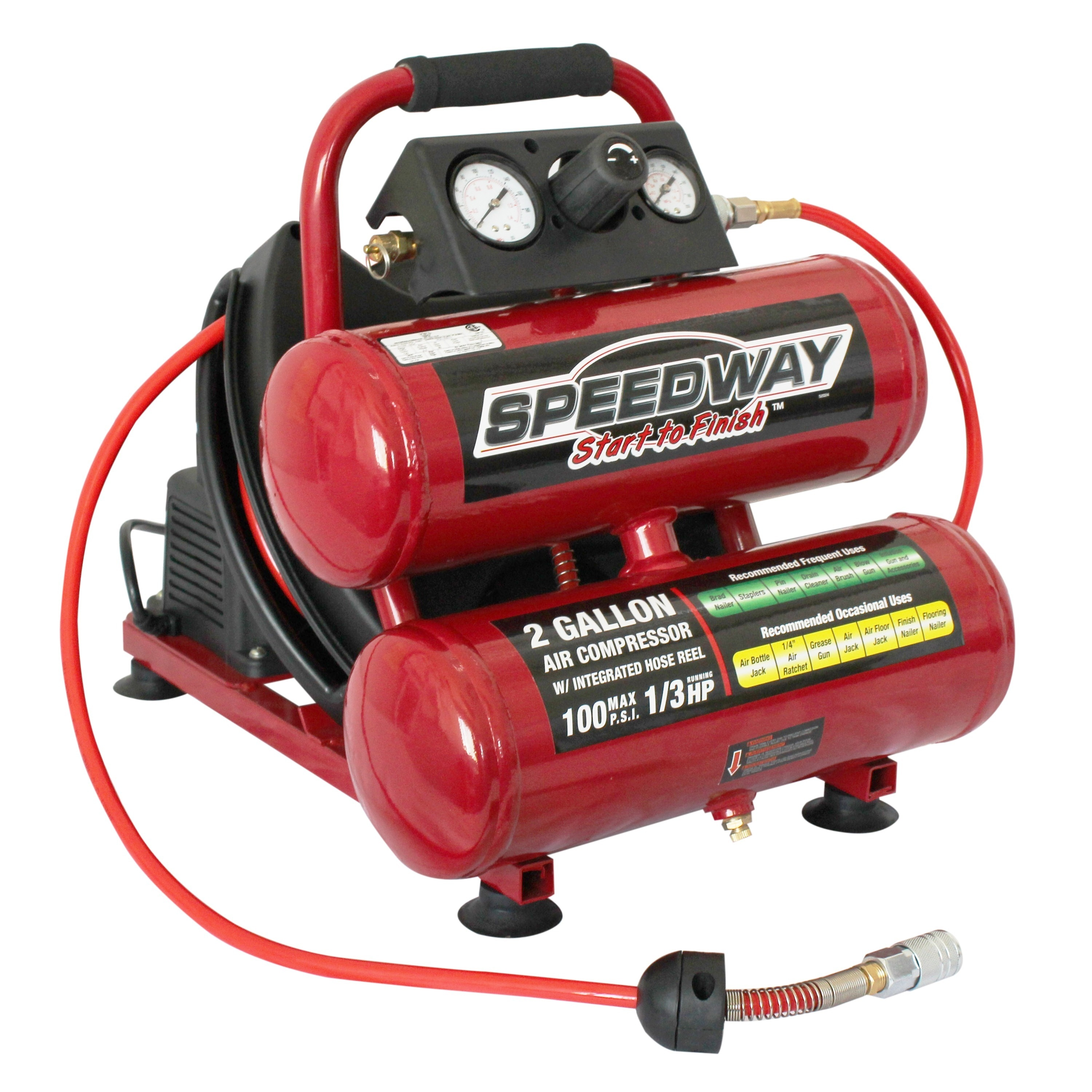 speedway 2 gallon twin stack compressor with 25 u0027 air hose and auto