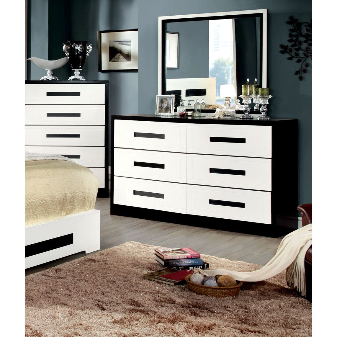 Shop furniture of america seleness contemporary duo tone 2 piece dresser and mirror set on sale free shipping today overstock com 9375342