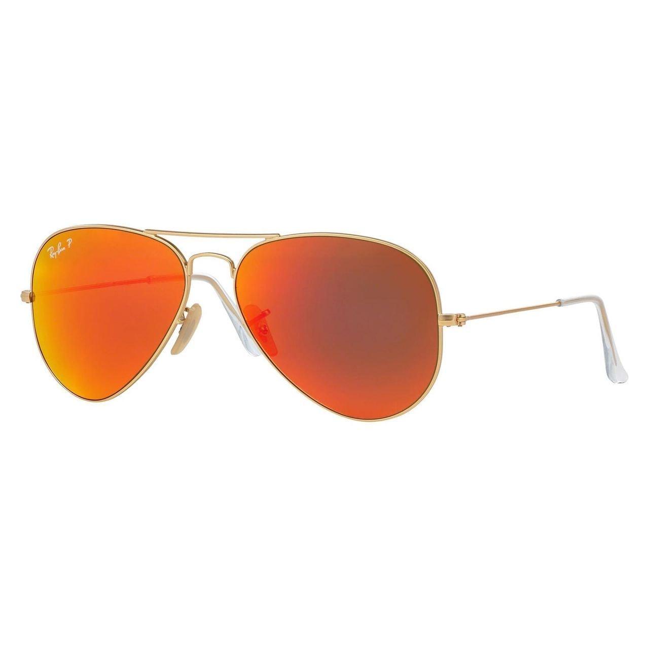 38e3605308b7 Ray-Ban Aviator RB3025 Unisex Gold Frame Orange Flash Polarized Lens  Sunglasses