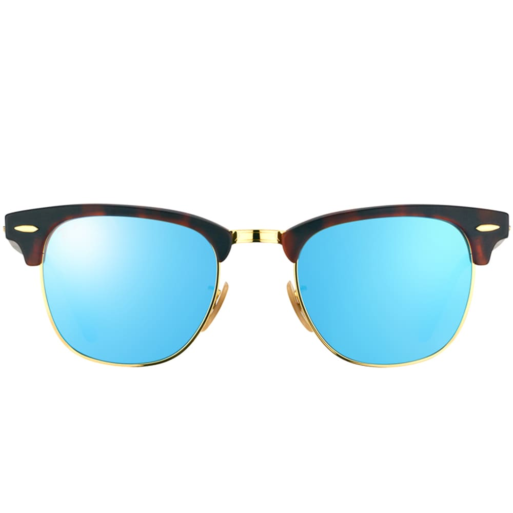 c84a6fa26f2 Shop Ray-Ban Clubmaster RB3016 114517 Unisex Havana Frame Blue Mirror Lens  Sunglasses - Free Shipping Today - Overstock - 9375467