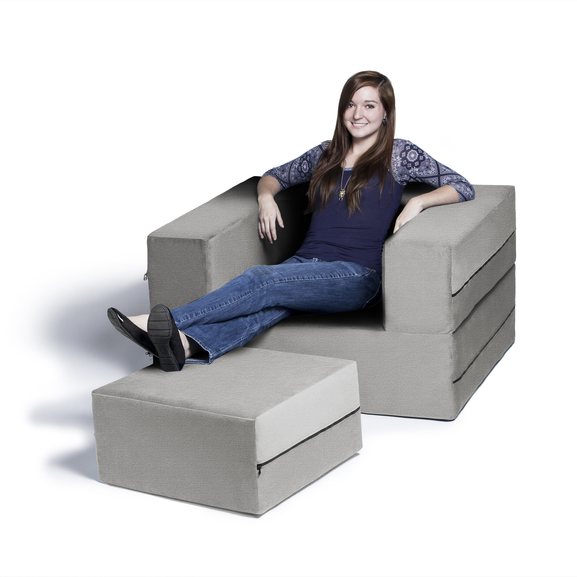 Shop Jaxx Zipline Convertible Sleeper Chair And Ottoman/ Twin Size Bed    Free Shipping Today   Overstock.com   9375980