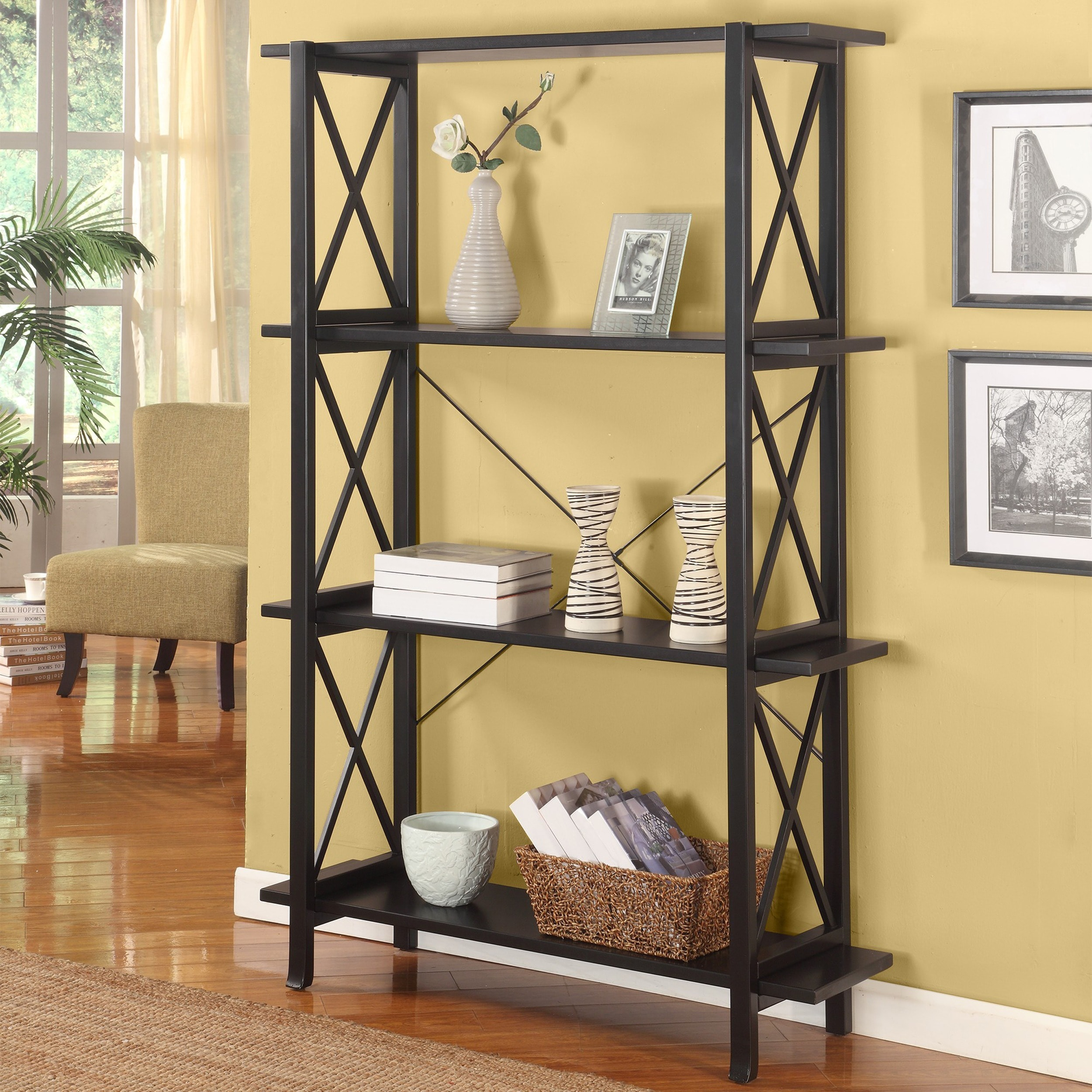 wide essentials wooden finish bookcase white camaflexi bookcases product