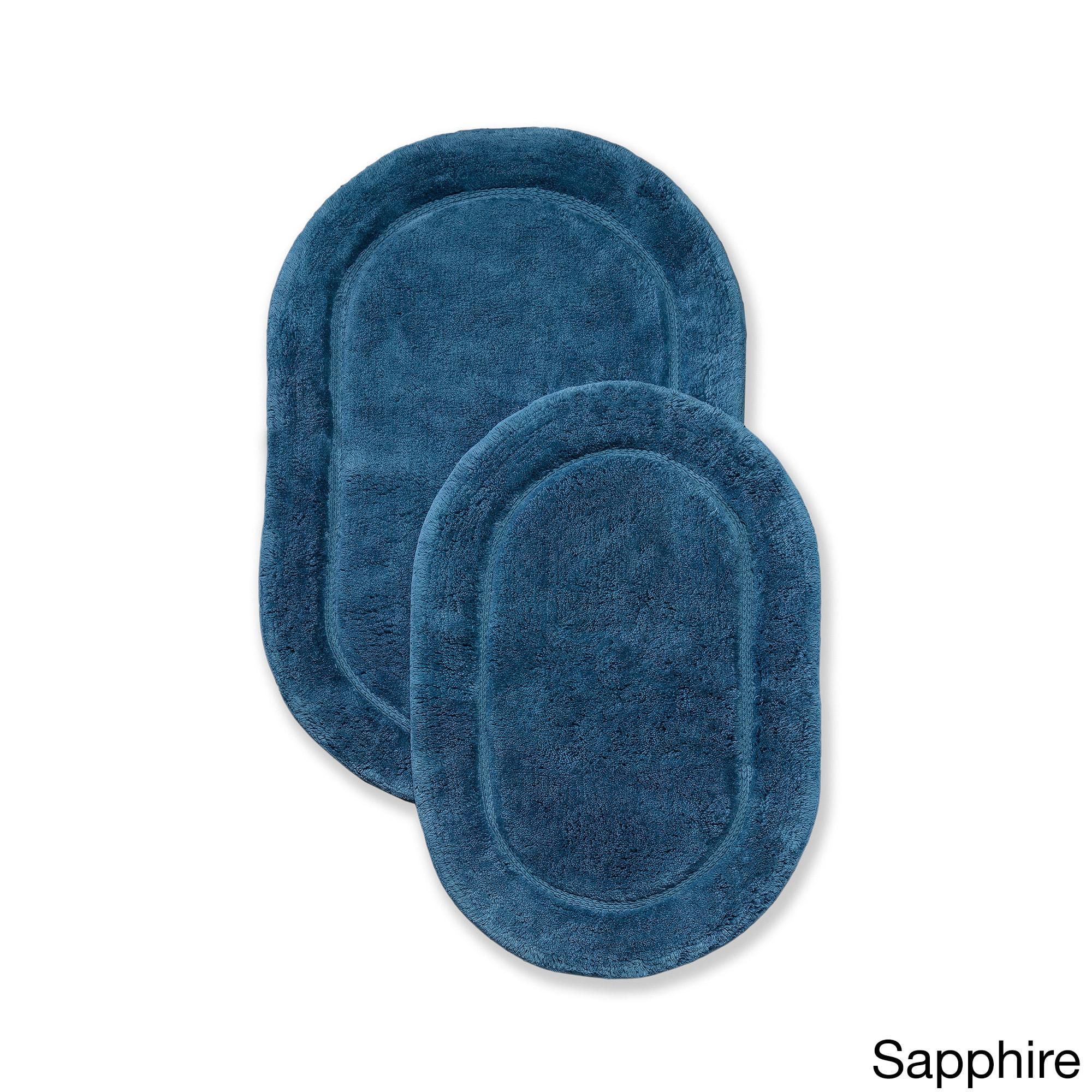 Shop Superior Collection Luxurious Cotton Non Skid Oval Bath Rug 2 Piece Set