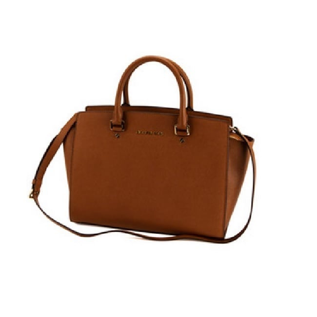 7039e1597821 ... spain shop michael kors selma luggage brown saffiano leather large top  zip satchel handbag free shipping