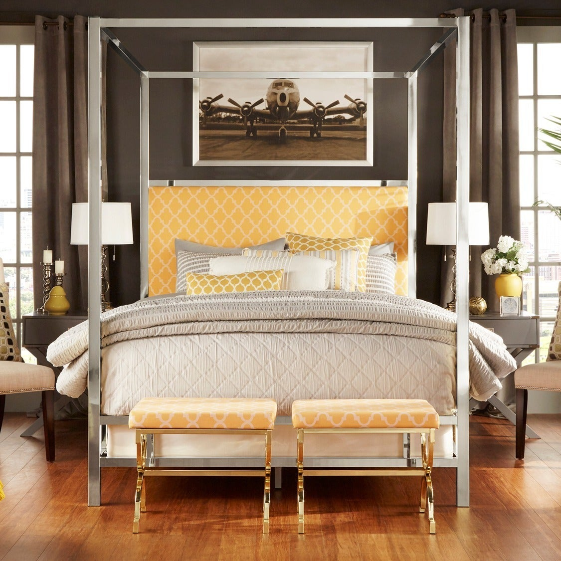 55d0a325db55 Shop Solivita Queen-size Chrome Metal Poster Bed by iNSPIRE Q Bold - On Sale  - Ships To Canada - Overstock - 9378476