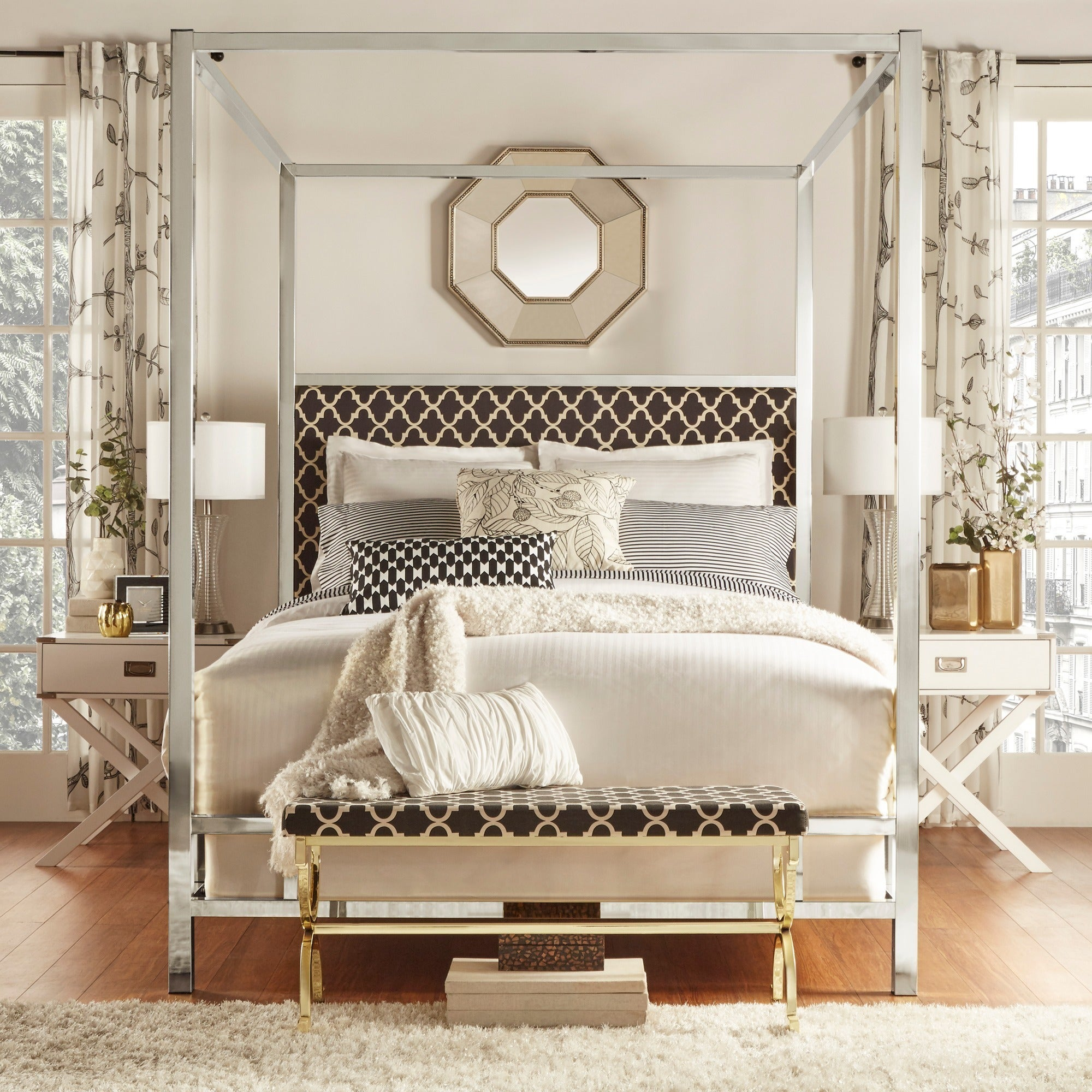 Shop Solivita Full-size Canopy Chrome Metal Poster Bed by iNSPIRE Q ...