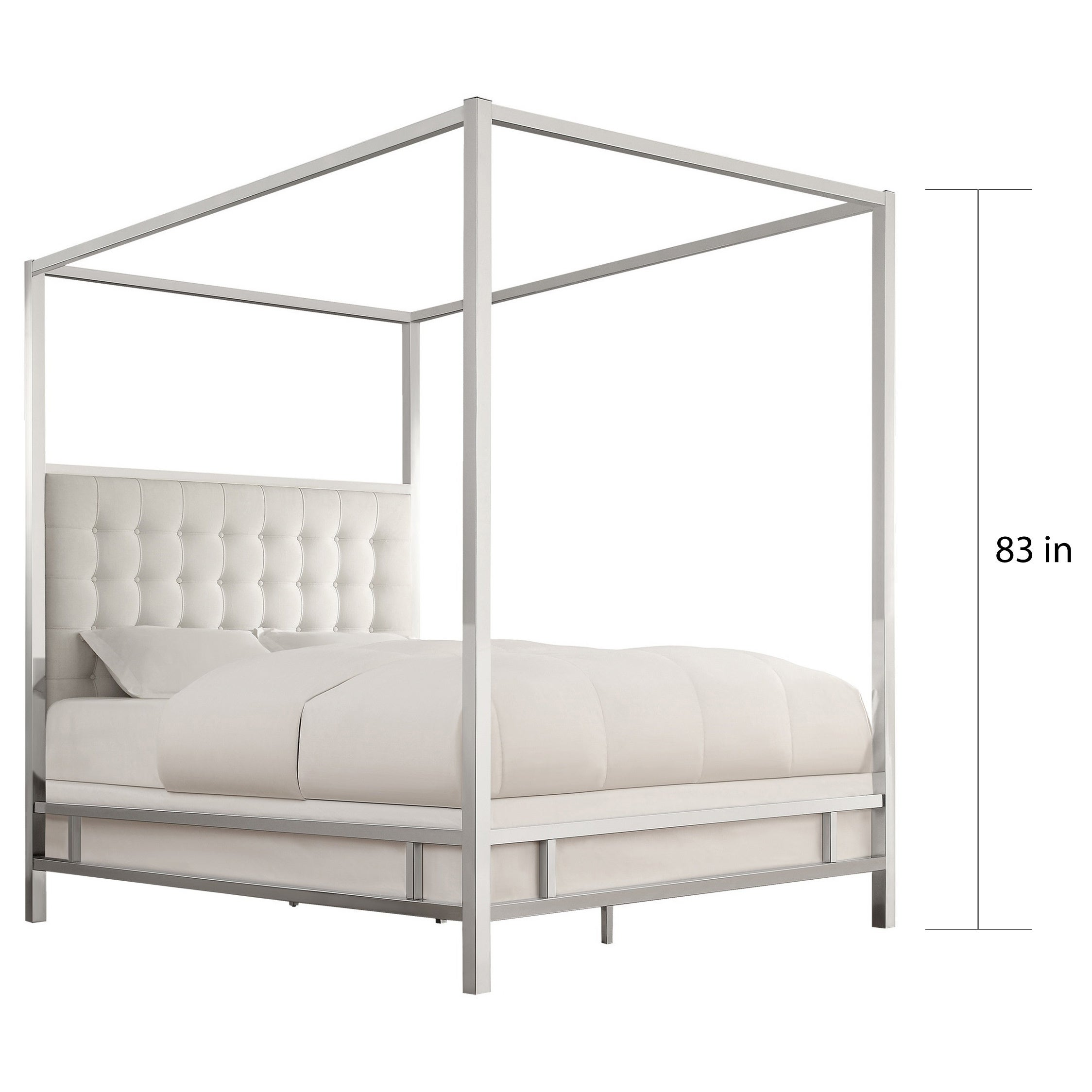 1c57b3a448bd Shop Solivita King-size Canopy Chrome Metal Poster Bed by iNSPIRE Q Bold -  On Sale - Free Shipping Today - Overstock - 9378478