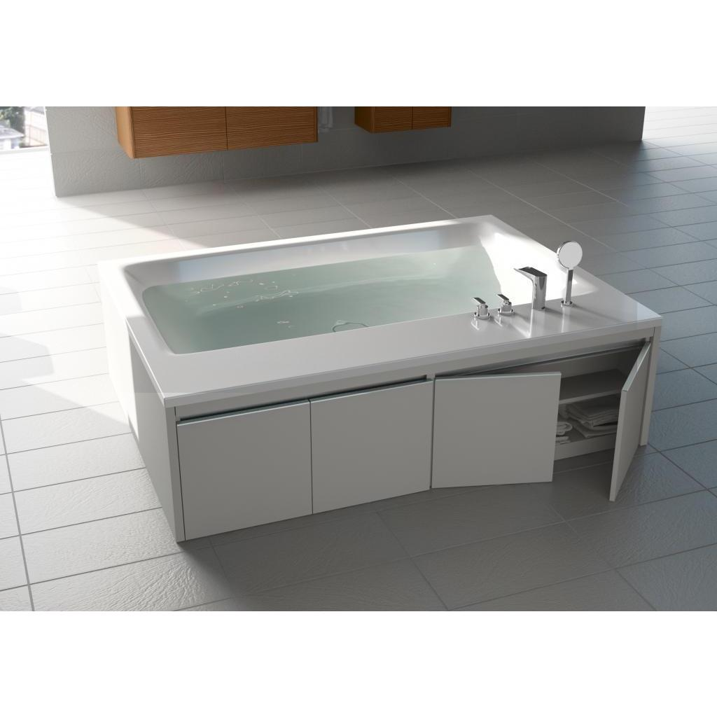 Shop Aquatica White Pool Duo-Wht Freestanding Acrylic Tub Wood Panel ...