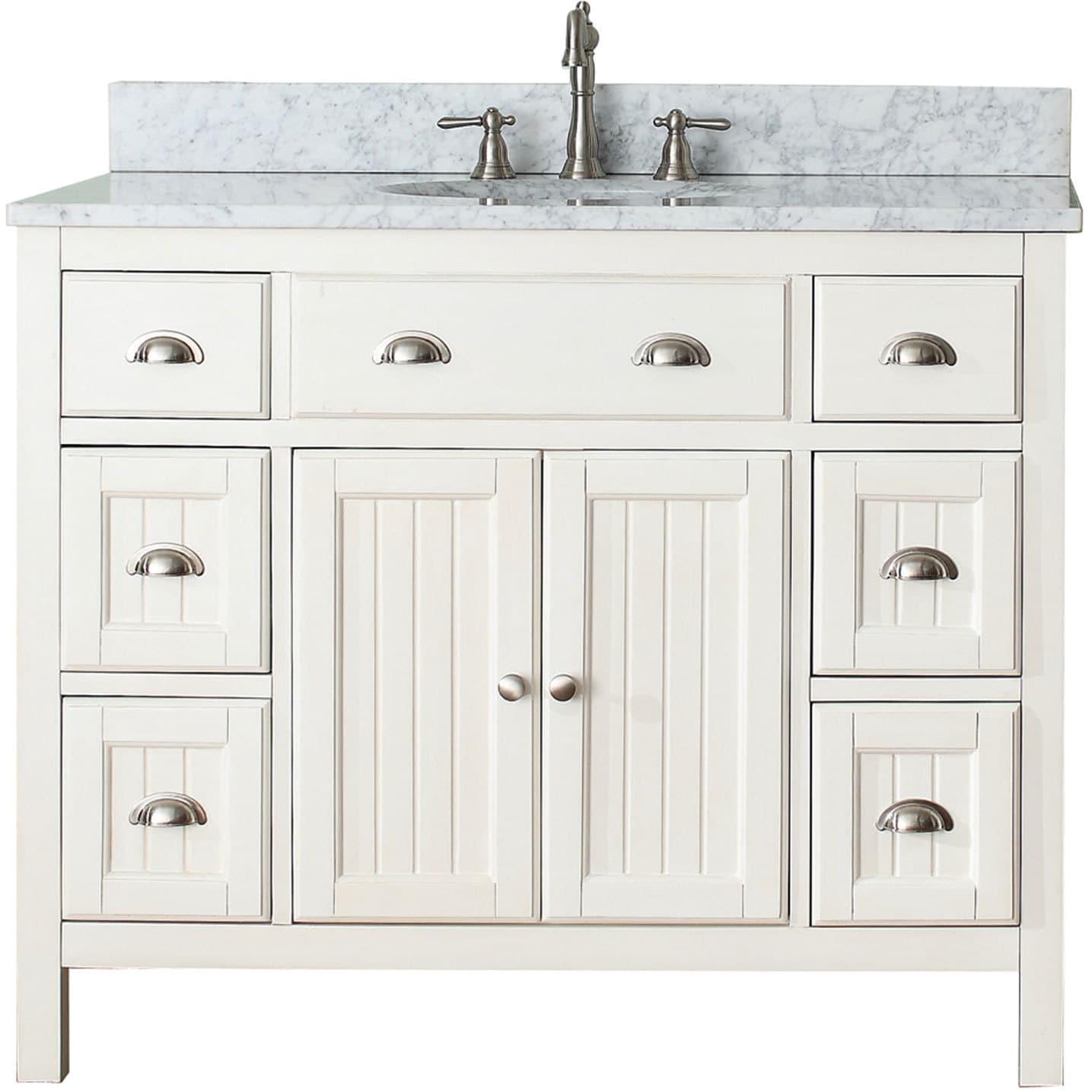 Shop Avanity Hamilton French White 42-inch Vanity Combo - Free ...