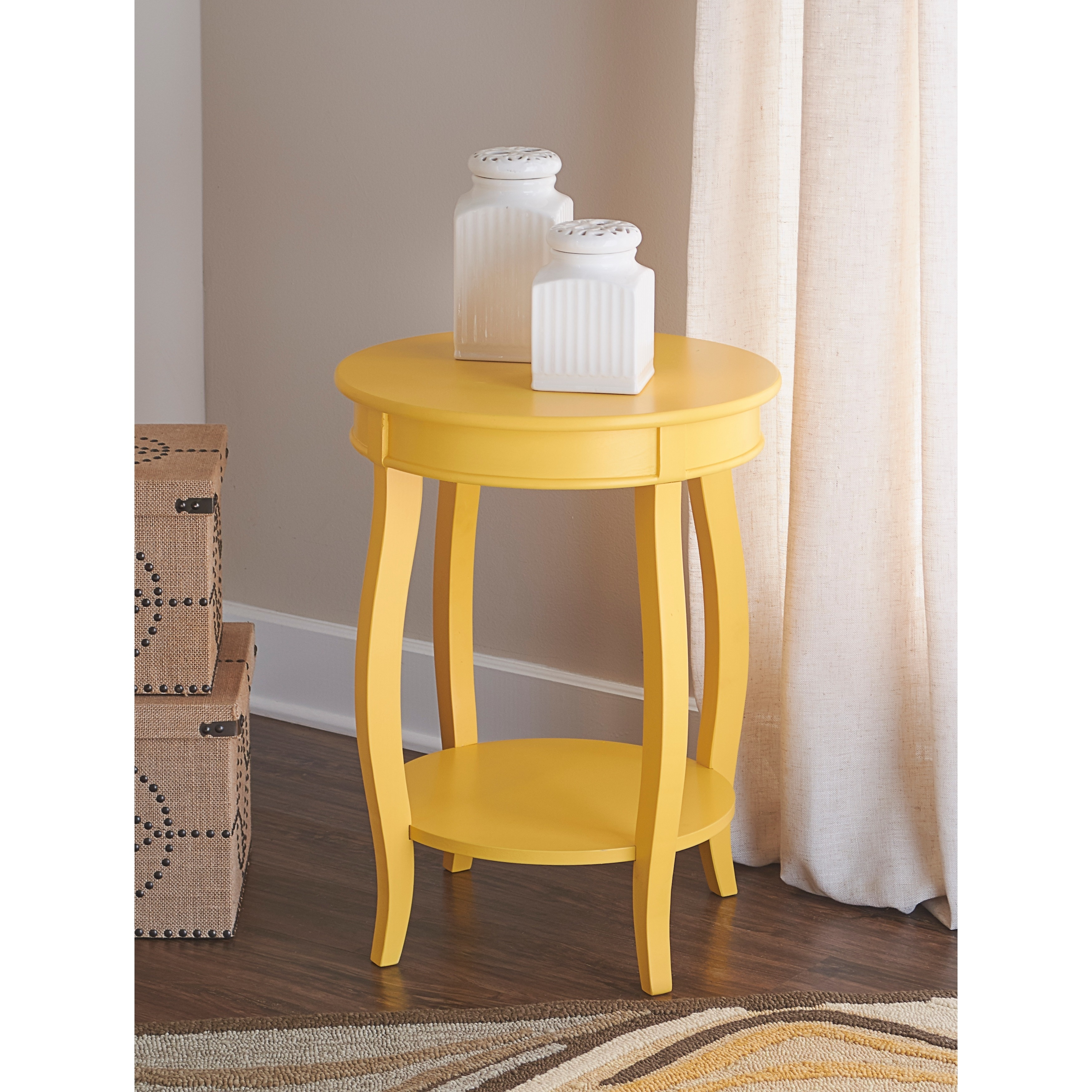Powell Ariana Yellow Round Table With Shelf On Free Shipping Today 9384628
