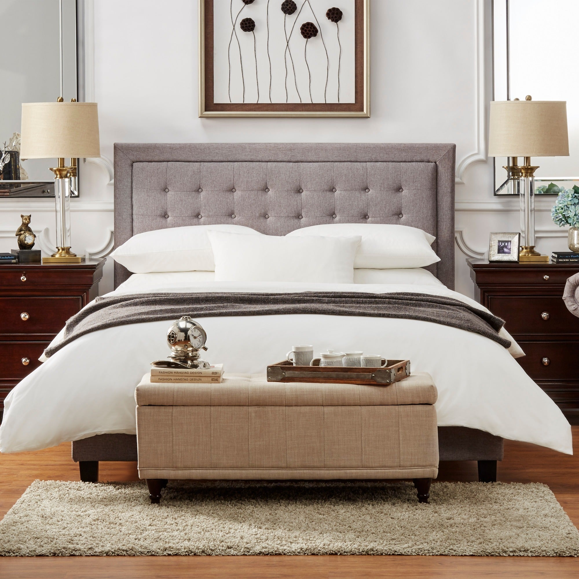 Bellevista Square Button Tufted Upholstered Platform Bed By INSPIRE Q Bold    Free Shipping Today   Overstock   16577707