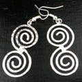 Handmade Hammered Scroll Silver Overlay Earrings (Mexico)