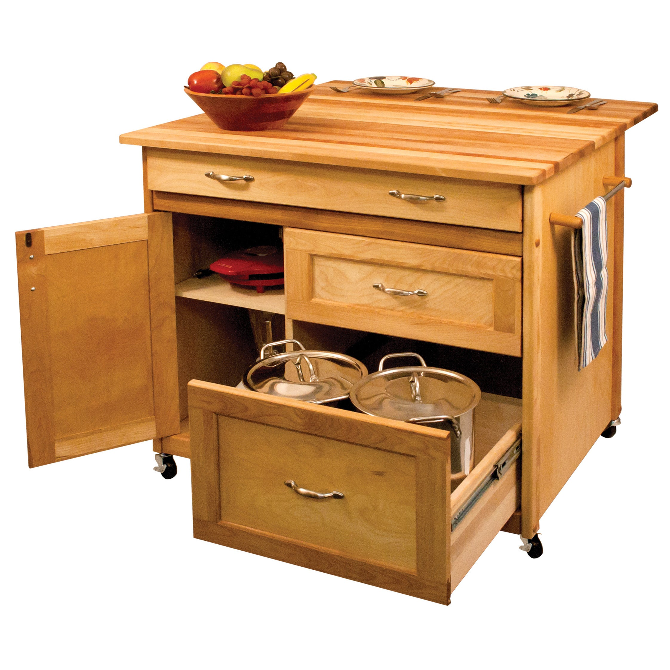 Merveilleux Shop Deep Drawer Hardwood Kitchen Island   Free Shipping Today    Overstock.com   9392423