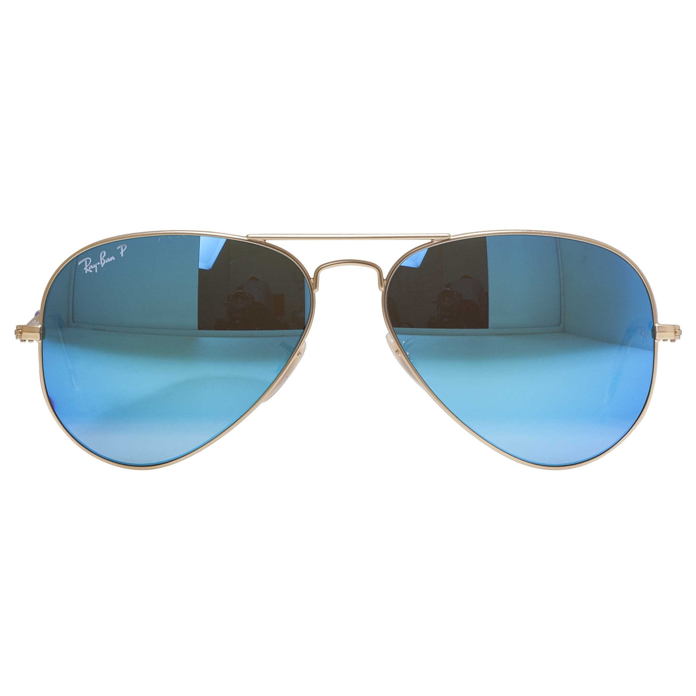 07f29873c01 Shop Ray-Ban Aviator RB3025 Unisex Gold Frame Blue Flash Polarized Lens  Sunglasses - Free Shipping Today - Overstock - 9394181