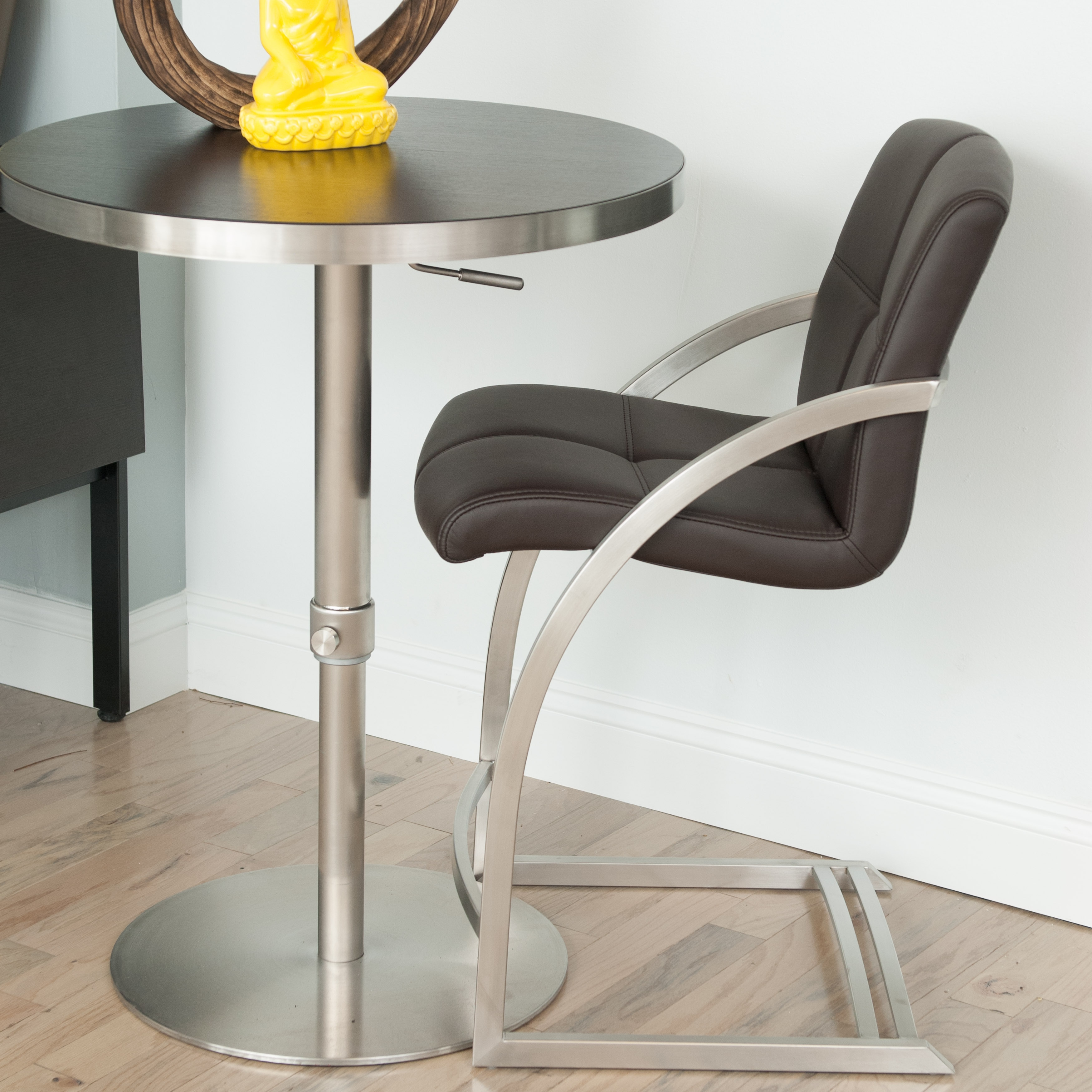Mix Brushed Stainless Steel 26 Inch Counter Height Stationary Bar Stool