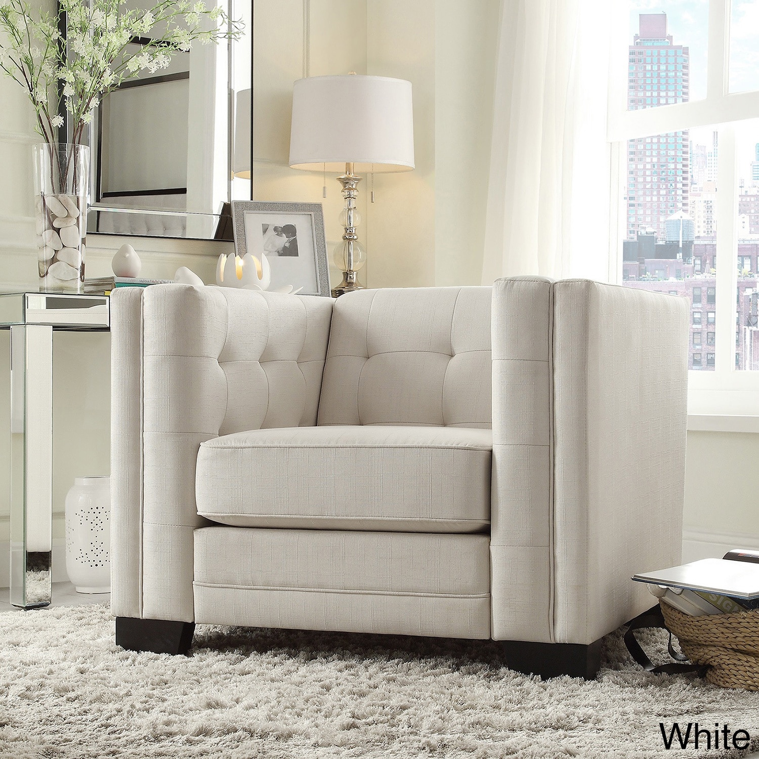 Hamilton Linen Button-tufted Accent Chair by iNSPIRE Q Bold - Free Shipping  Today - Overstock.com - 16588548