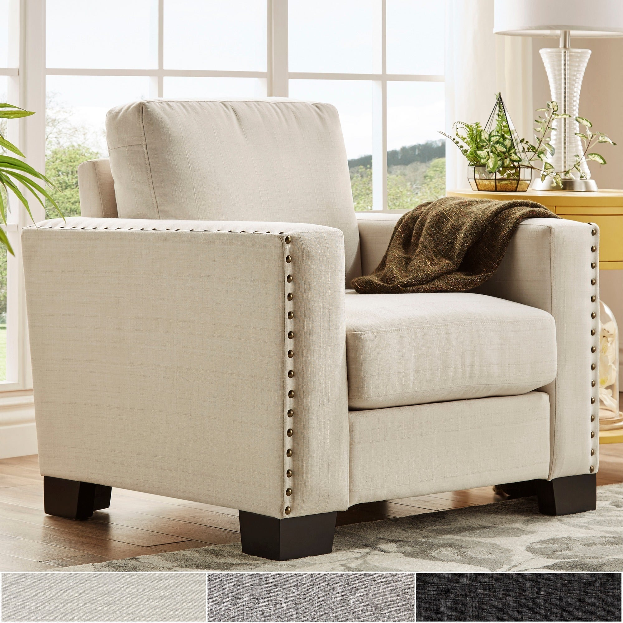 Torrington Linen Nailhead Track Arm Accent Chair by iNSPIRE Q ...