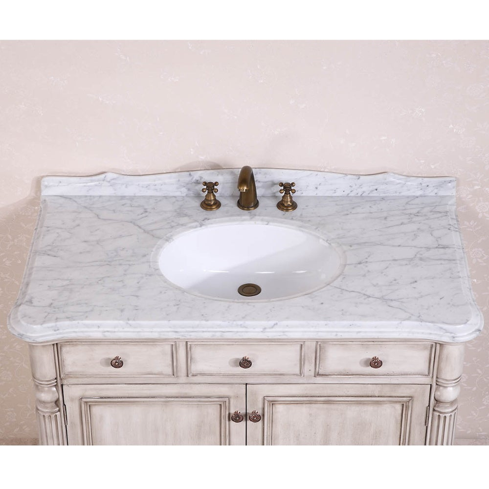 Shop Carrara White Marble Top Single Sink Bathroom Vanity In Antique White    Free Shipping Today   Overstock.com   9401041