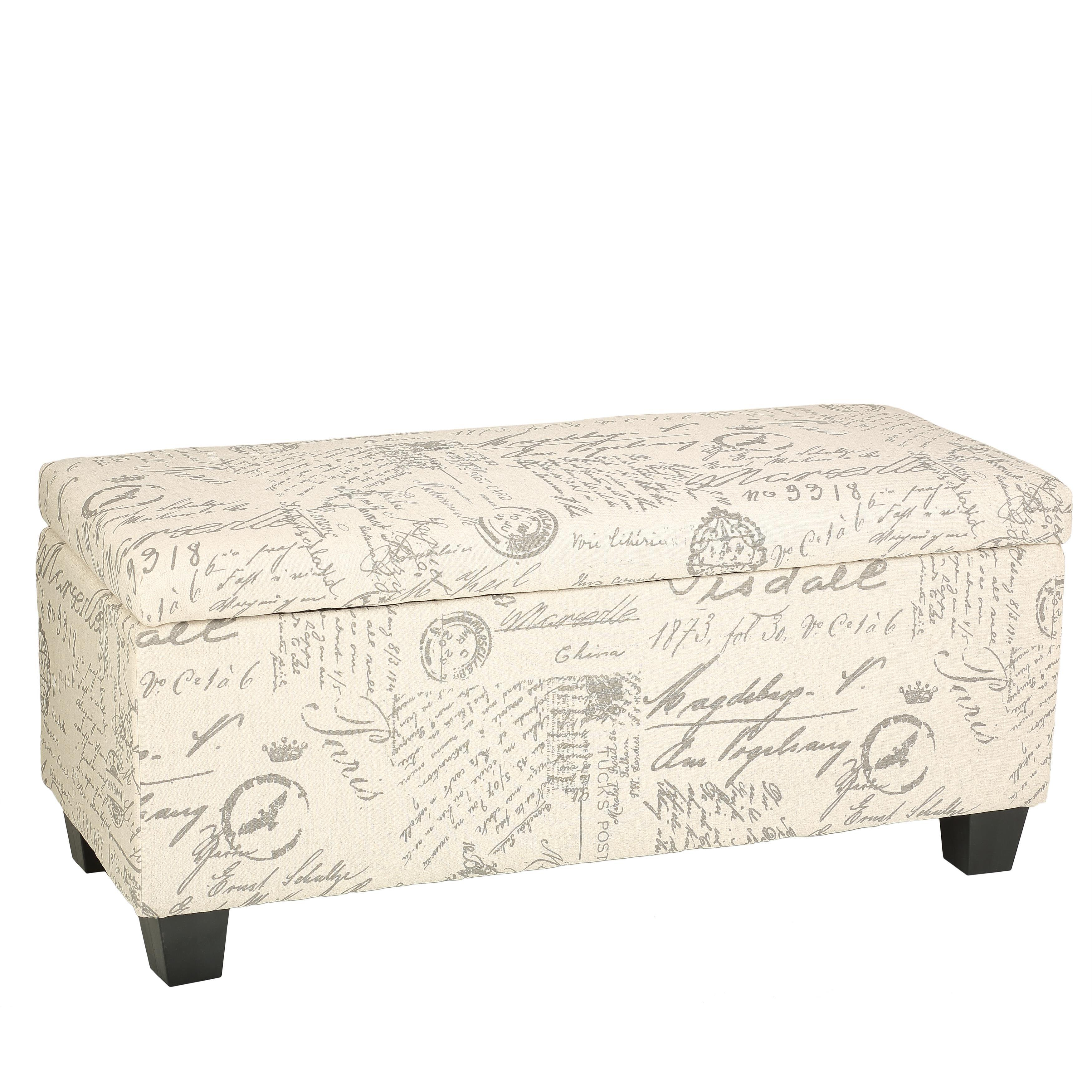 Shop cortesi home fitzgerald script linen fabric storage long bench ottoman free shipping today overstock com 9401086
