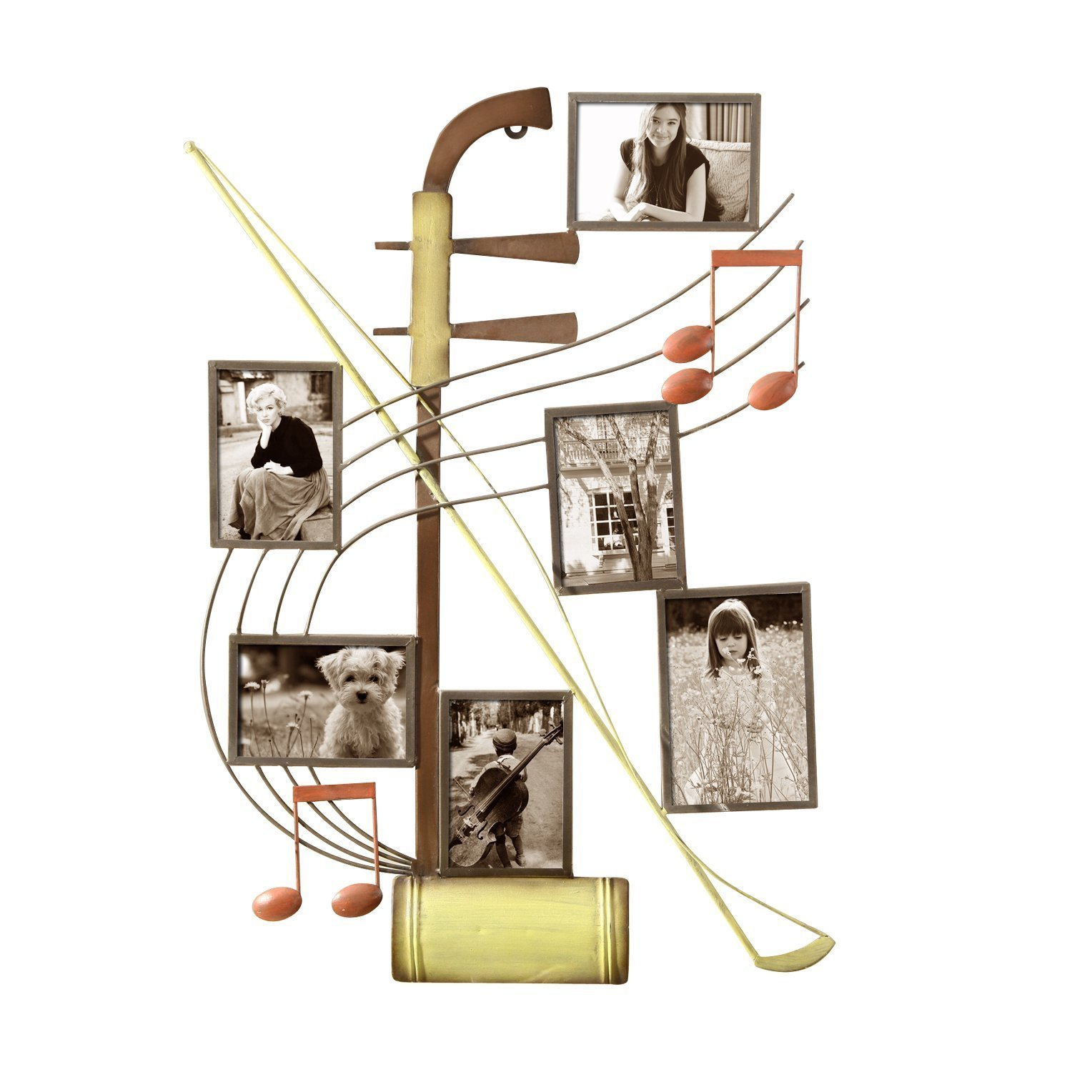 Shop Adeco 6-opening Music Motif Iron Collage Wall-hanging Photo ...