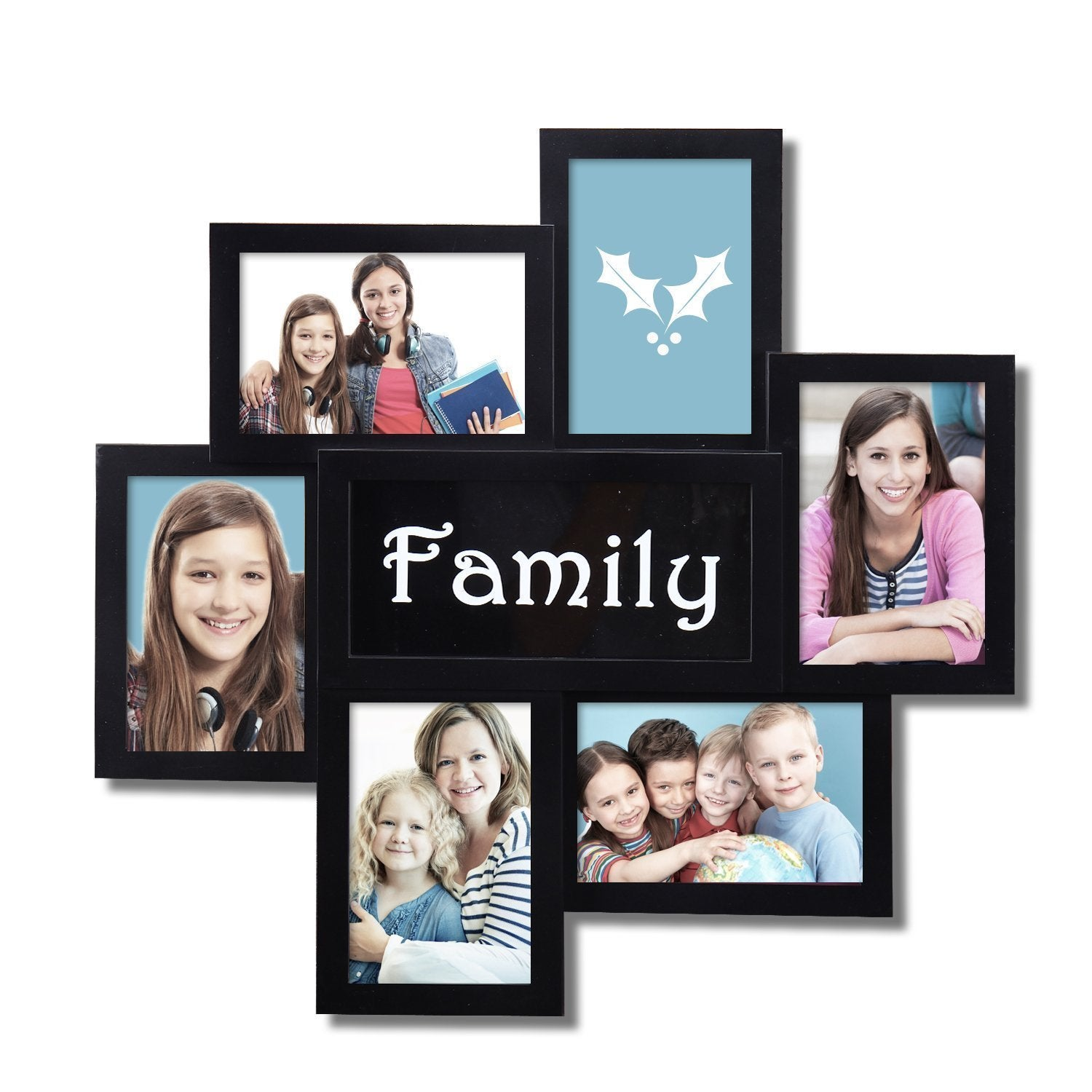 Adeco \'Family\' 6-opening Black Plastic Wall Hanging Collage Photo ...