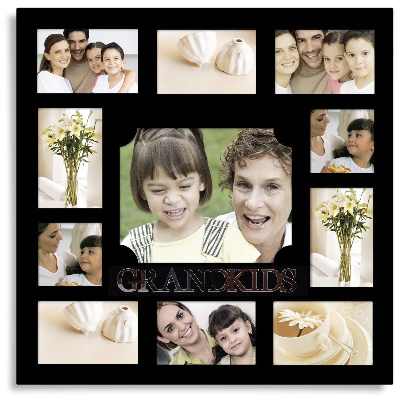 Shop Adeco \'Grandkids\' Black Wooden 11-opening Collage Photo Frame ...