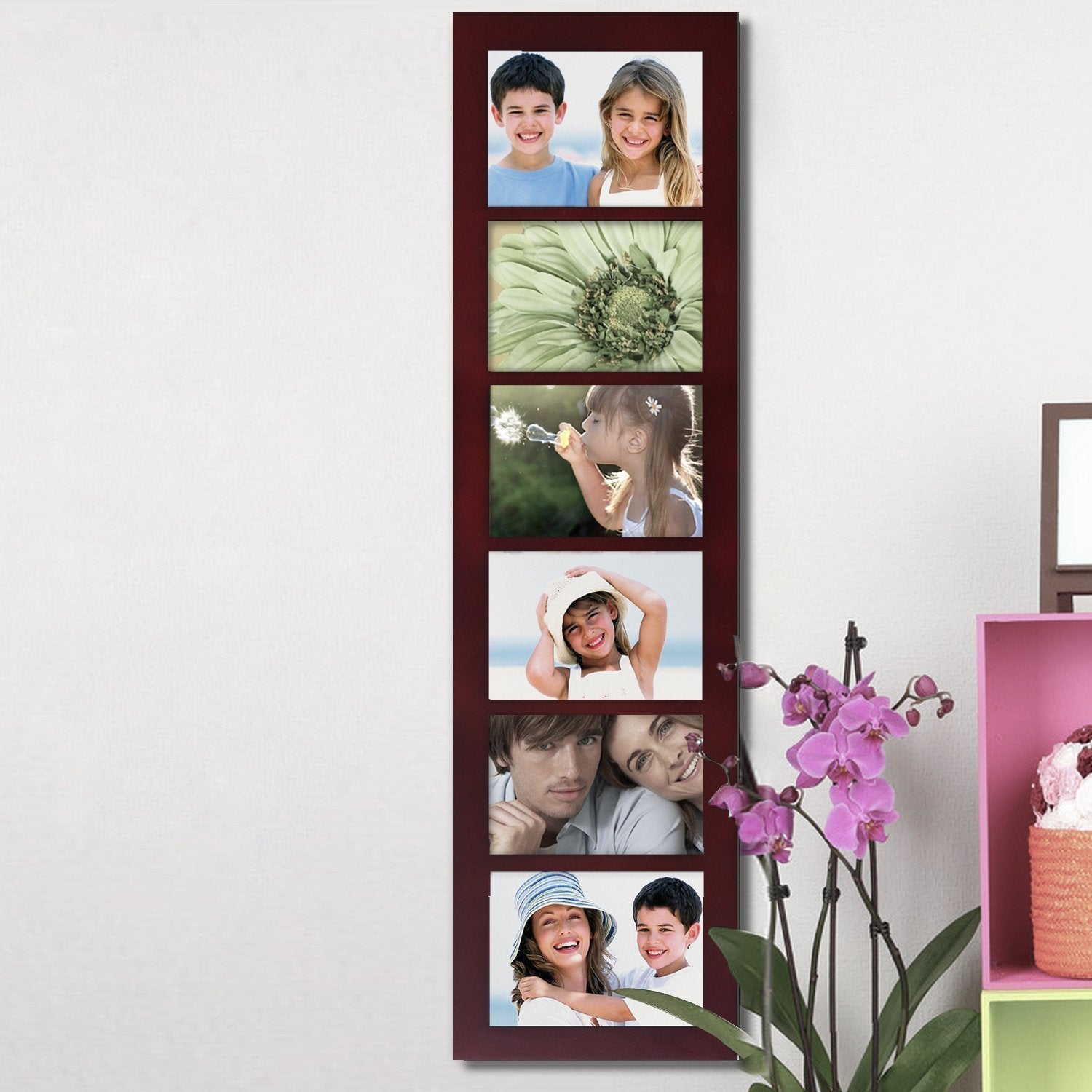 Shop Adeco Walnut Wood 6-opening Collage Picture Frame - Free ...