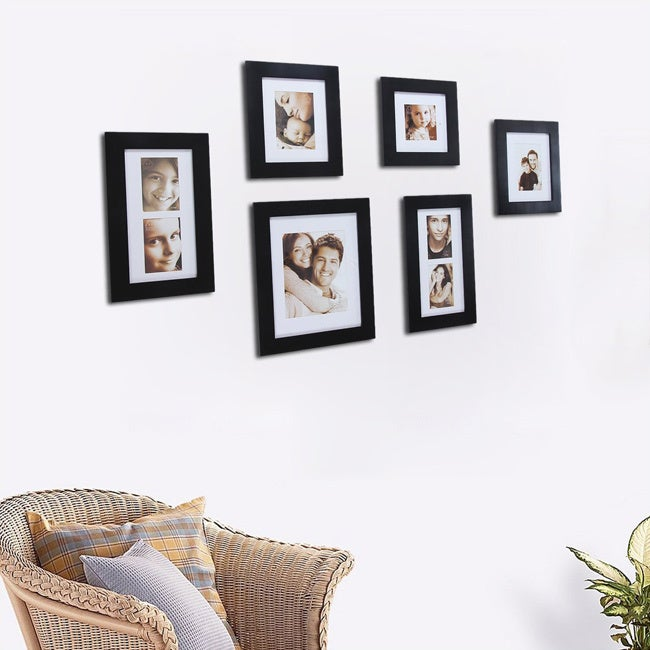 Adeco Decorative Black Wood 7-piece Wall Hanging Photo Frame Set ...