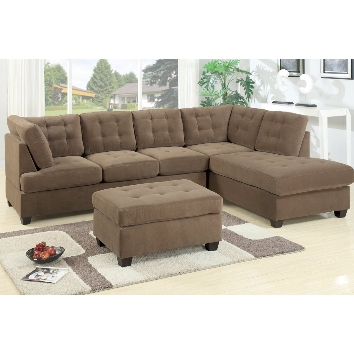 Shop odessa waffle suede reversible sectional sofa free shipping today overstock com 9408018