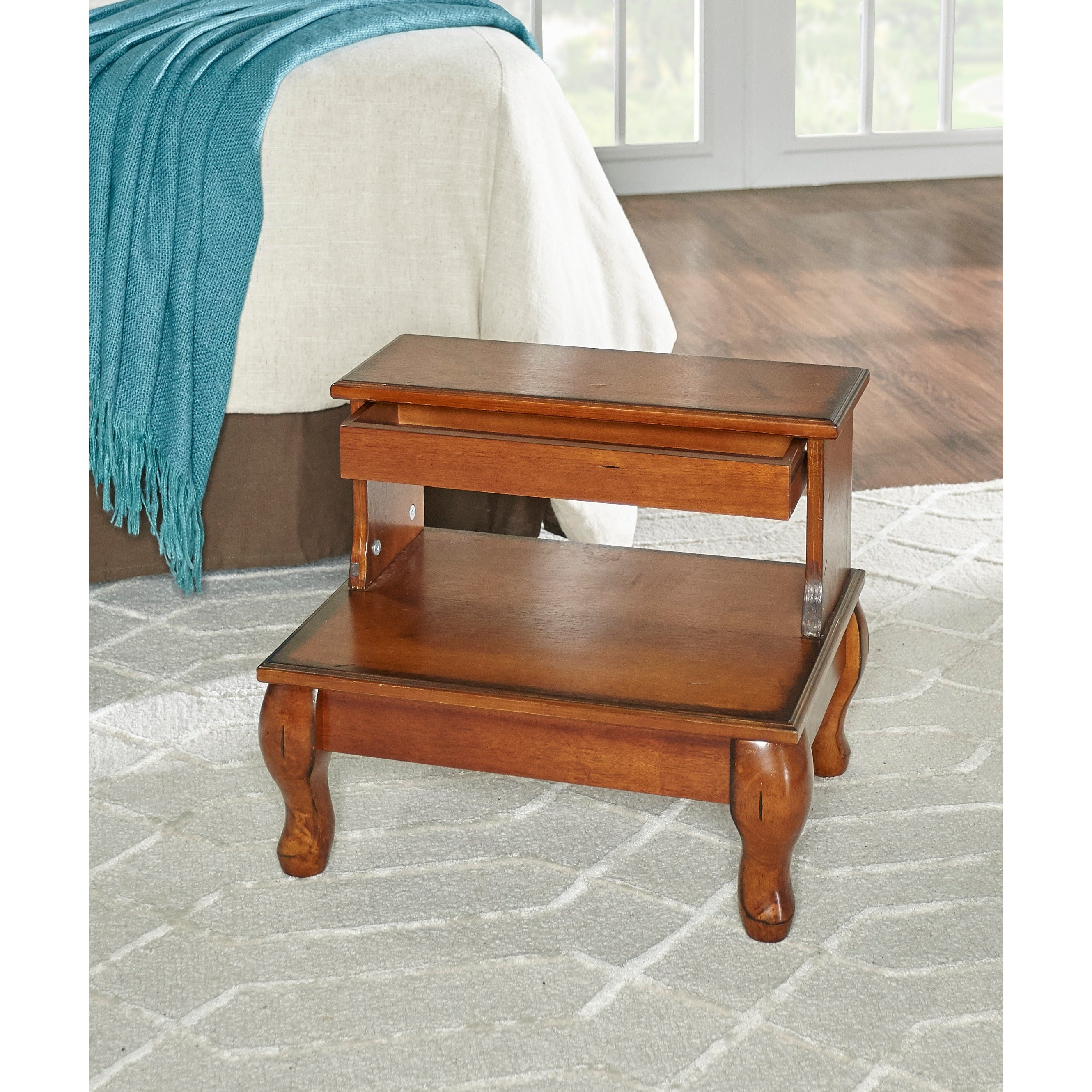 Shop Powell Macon Bed Steps With Drawer   Overpacked   Free Shipping Today    Overstock   9409258