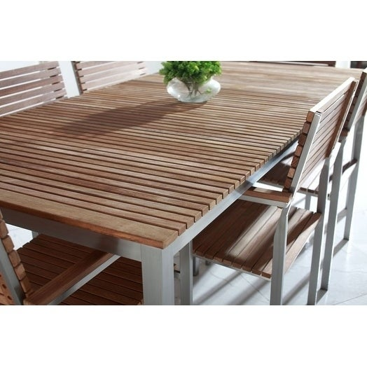 Shop & Velago Vitale Teak/ Stainless Steel Dining Table - DC & - Free  Shipping Today - Overstock.com - 9409889 - Shop & Velago Vitale Teak/ Stainless Steel Dining Table - DC